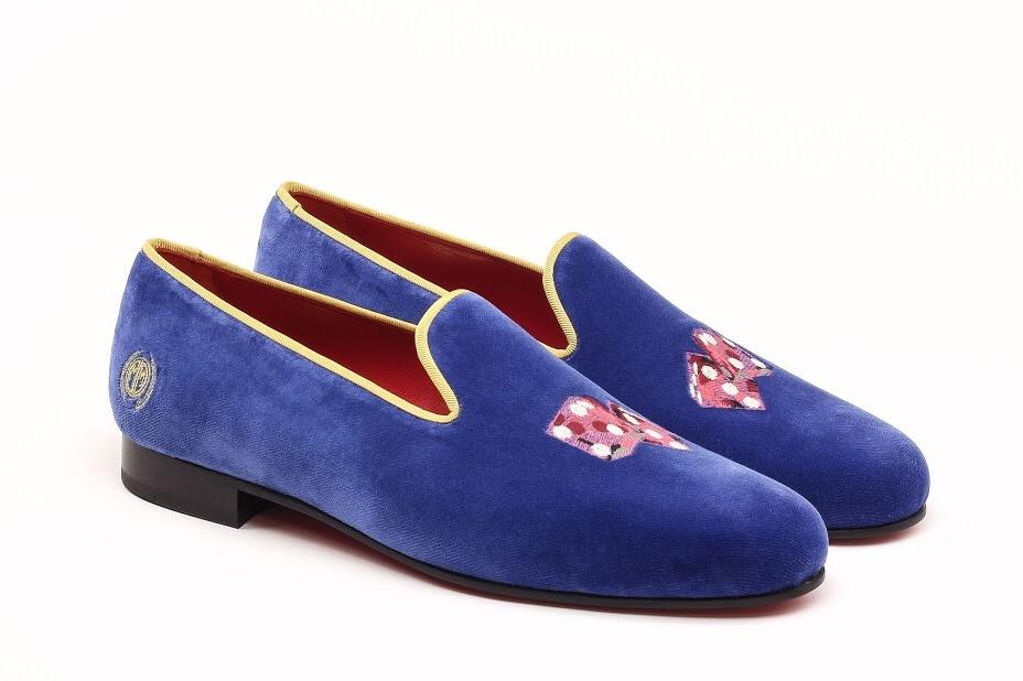 Manor of London 'THE HIGH ROLLER' Royal Blue Velvet Slippers Luxury Custom Initials Monogrammed Front Side View