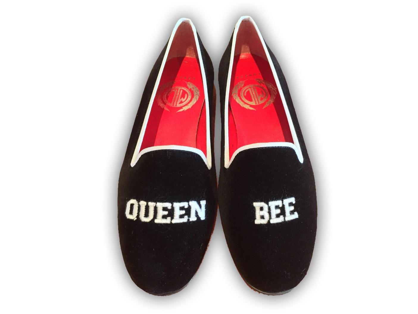 Manor of London QUEEN BEE Womens Black Velvet Leather Slip On Embroidery Luxury Custom Initials Slippers Top View