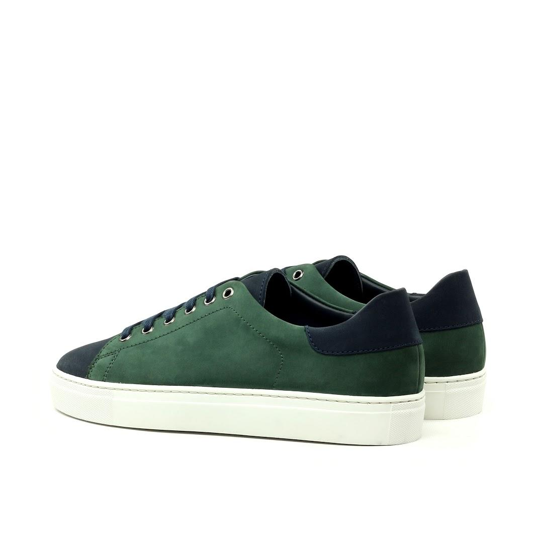 MANOR OF LONDON 'The Perry' Green & Navy Nubuck Tennis Trainer Luxury Custom Initials Monogrammed Back Side View