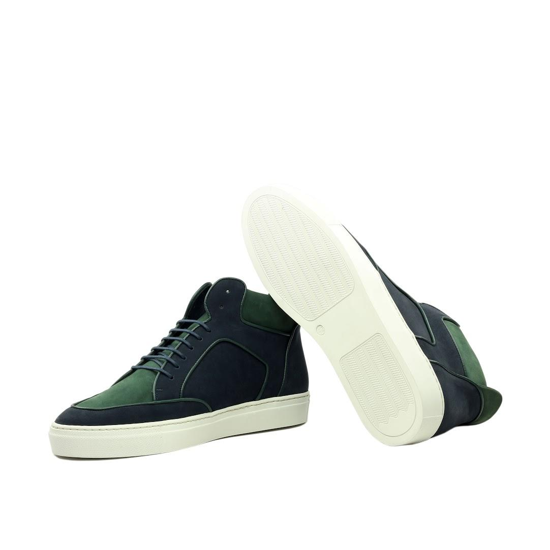 Manor of London 'The Hamilton' Green & Navy Nubuck High-Top Trainer Luxury Custom Initials Monogrammed Bottom Side View
