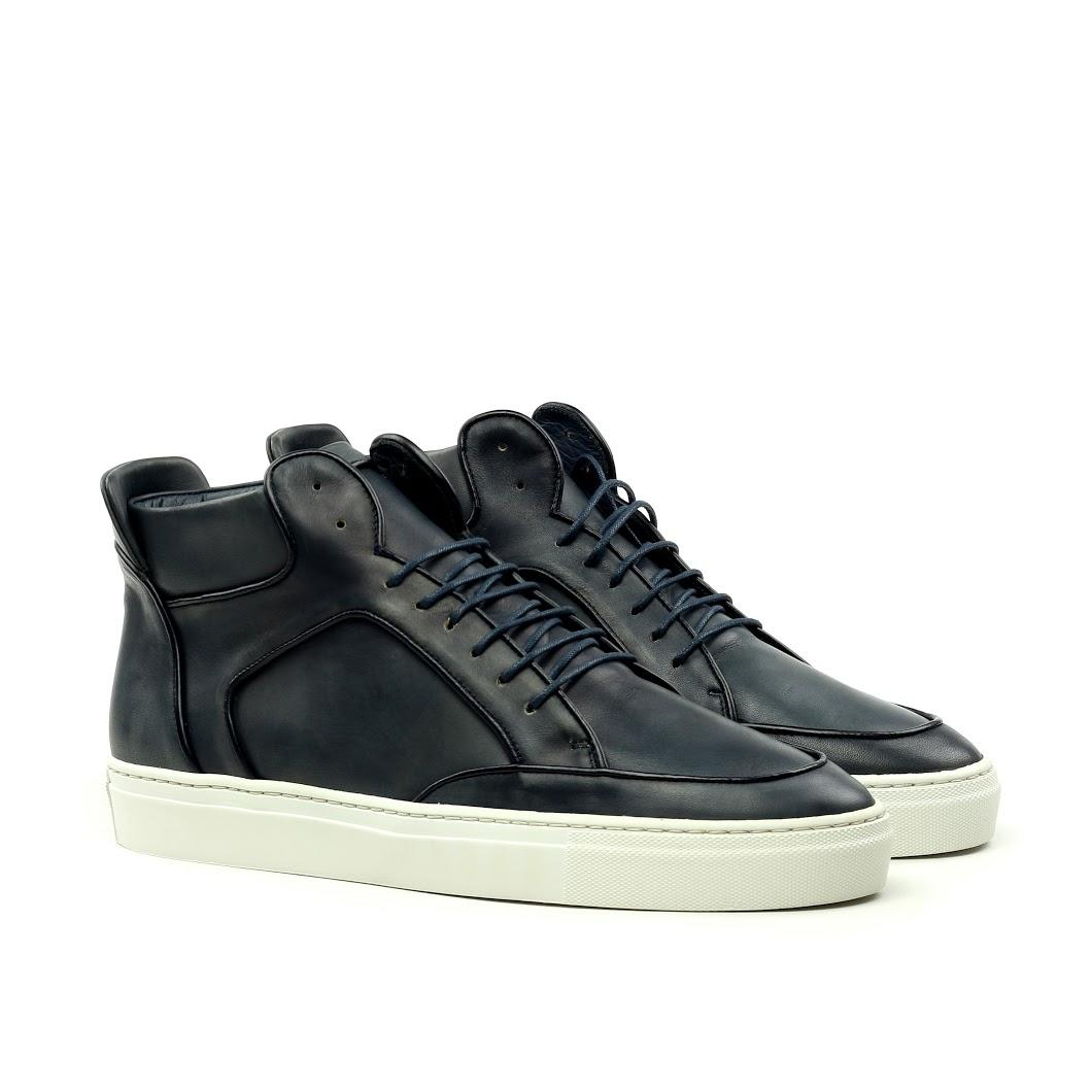 Manor of London 'The Hamilton' Black Calfskin Leather High-Top Trainer Luxury Custom Initials Monogrammed Front Side View