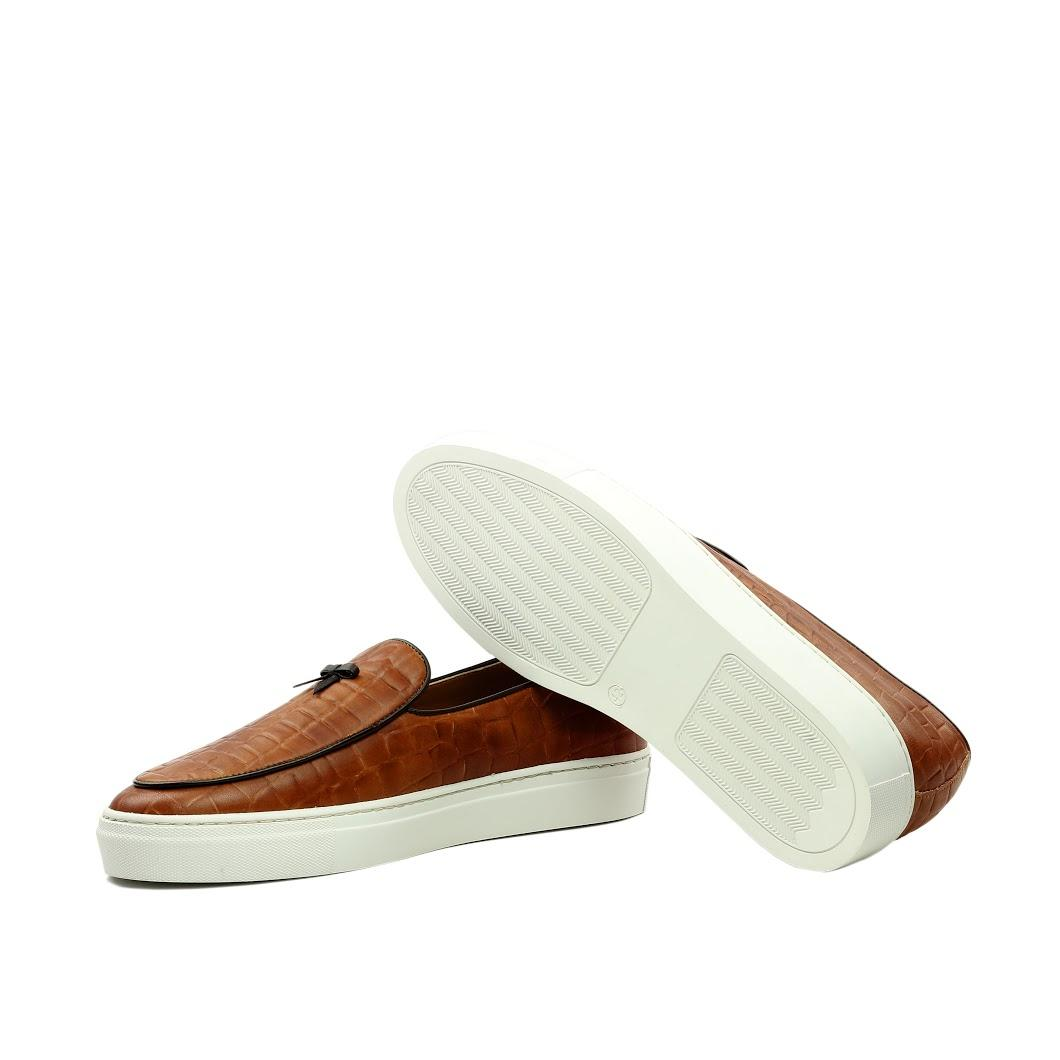 Manor of London 'The Dandy' Cognac Croco Belgian Trainer Luxury Custom Initials Bottom Top Side View