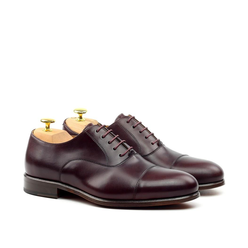 MANOR OF LONDON ''The Oxford' Oxblood Calfskin Shoe Luxury Custom Initials Monogrammed Front Side View