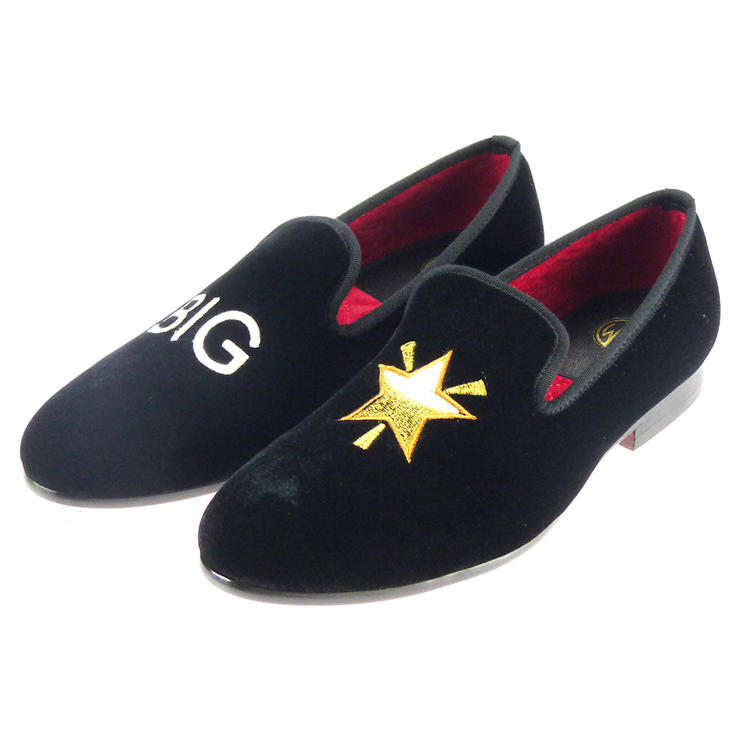 Manor of London BIG STAR Black Velvet Leather Slip On Embroidery Luxury Custom Initials Slippers Front Side View
