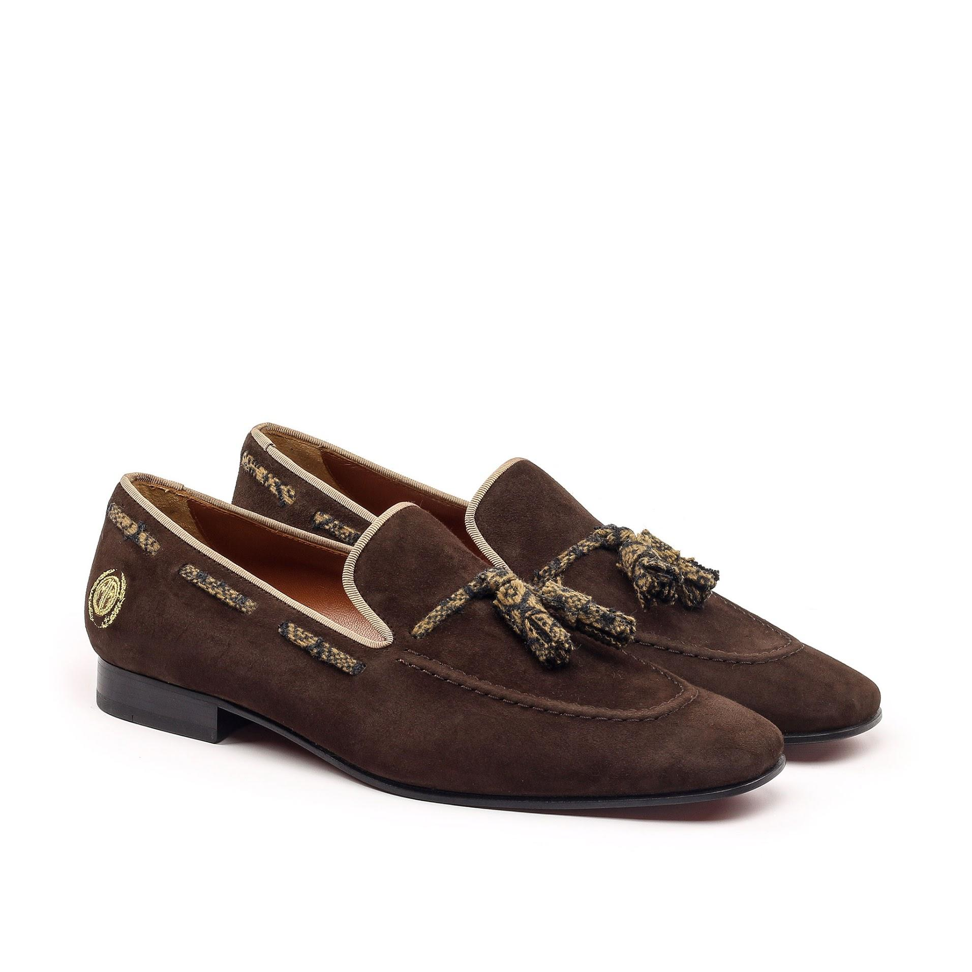 1b5fd901055 Brown Suede Tassel Loafers with Tobacco Cashmere Detailing