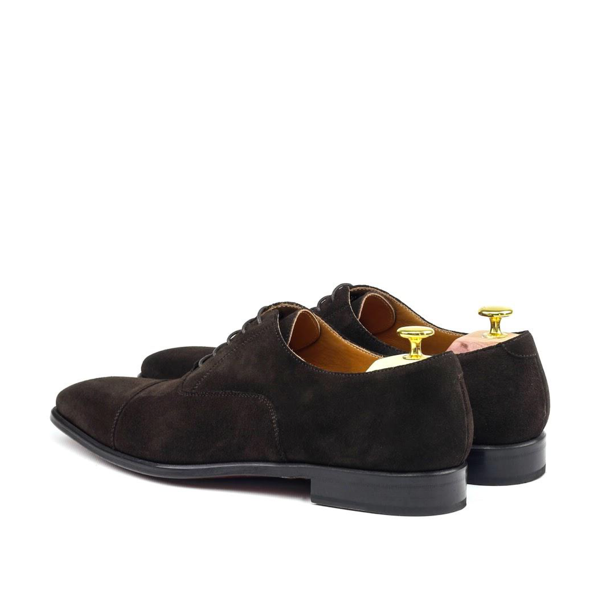 MANOR OF LONDON 'The Oxford' Brown Suede Shoe Luxury Custom Initials Monogrammed Back Side View