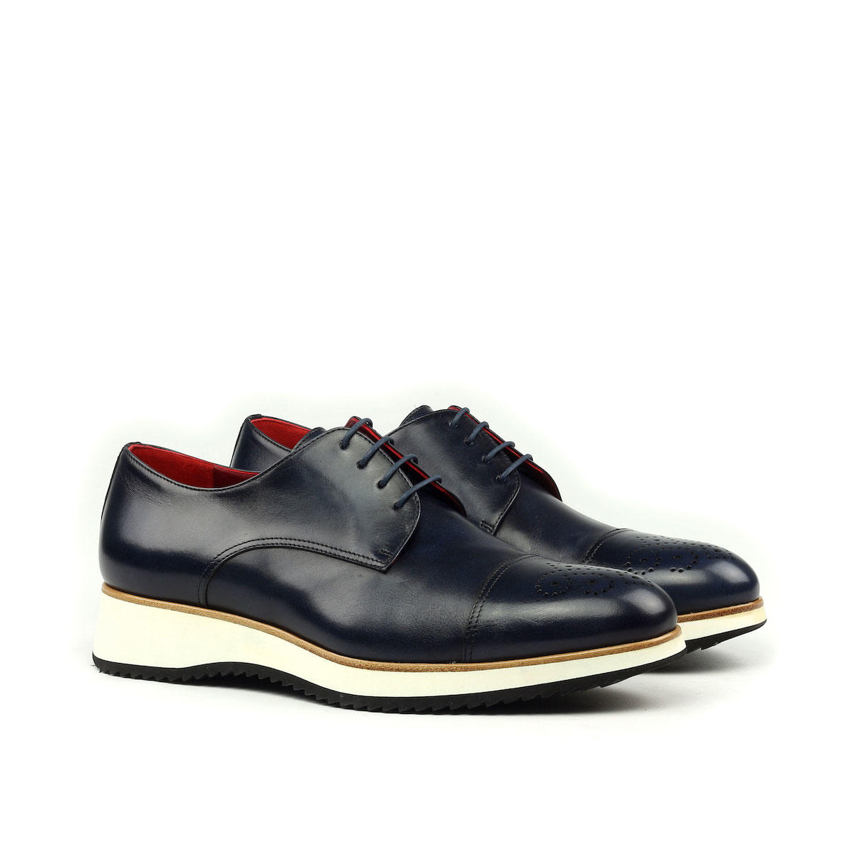 Manor of London 'The Derby'  Navy Painted Calfskin w/ Running Sole Shoe Luxury Custom Initials Monogrammed Front Side View
