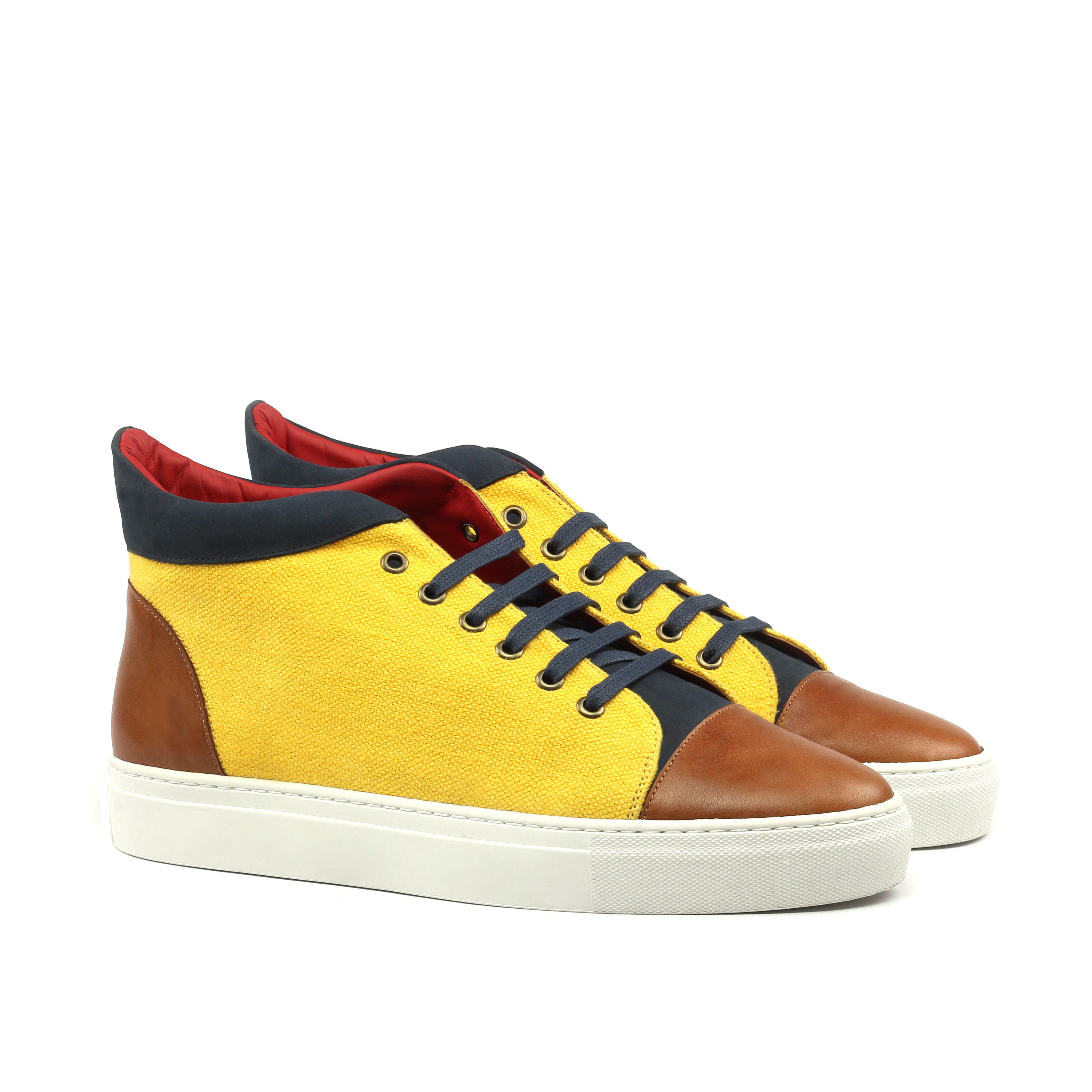 Manor of London 'The Joshua' Mustard Linen & Cognac Calfskin High-Top Trainer Luxury Custom Initials Monogrammed Front Side View