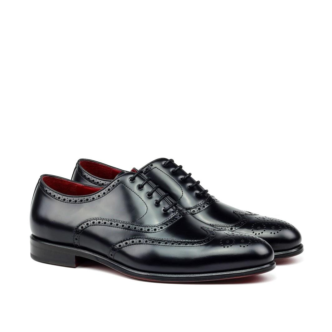 MANOR OF LONDON 'The Marylebone' Black Calfskin Brogue Luxury Custom Initials Monogrammed Front Side View