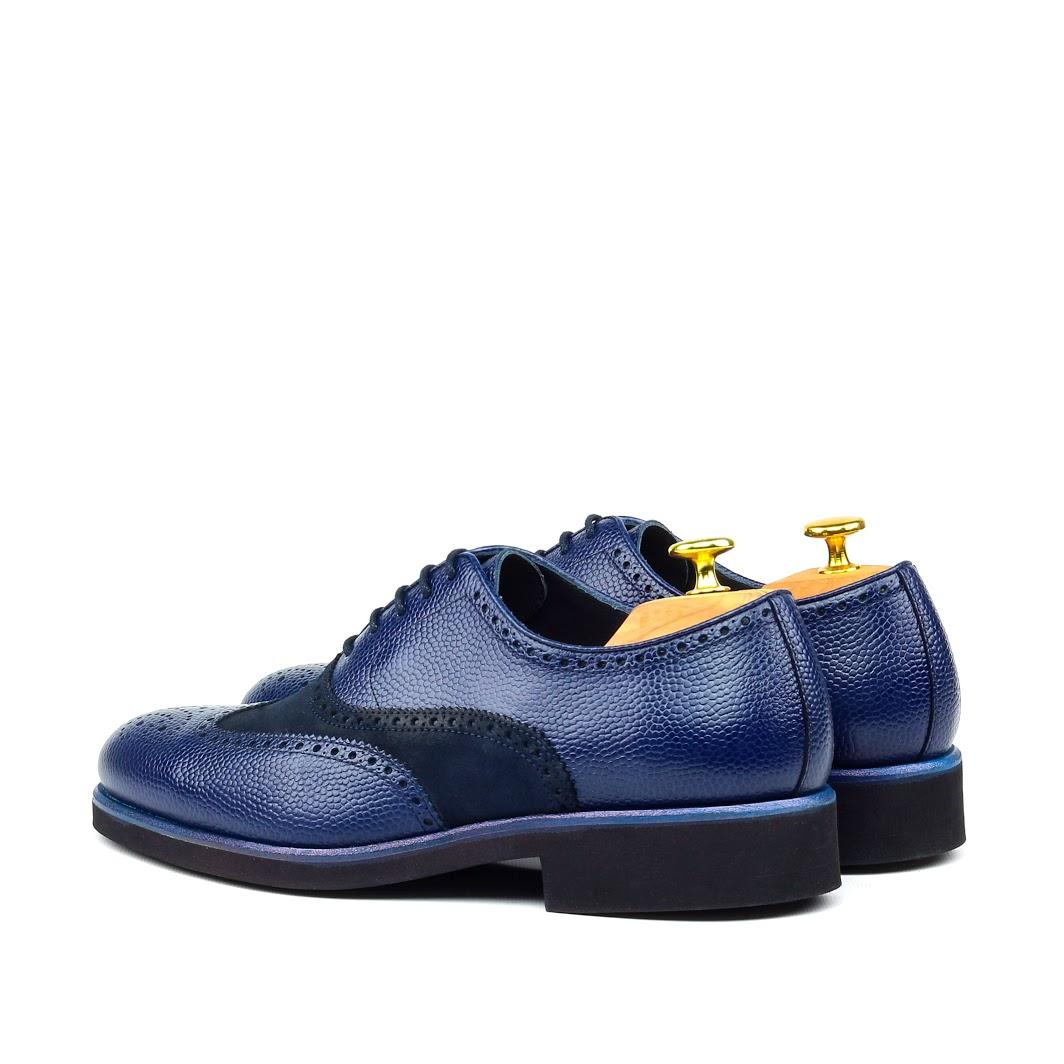 MANOR OF LONDON 'The Marylebone' Blue Pebble Grain Calfskin / Suede Brogue Luxury Custom Initials Monogrammed Back Side View