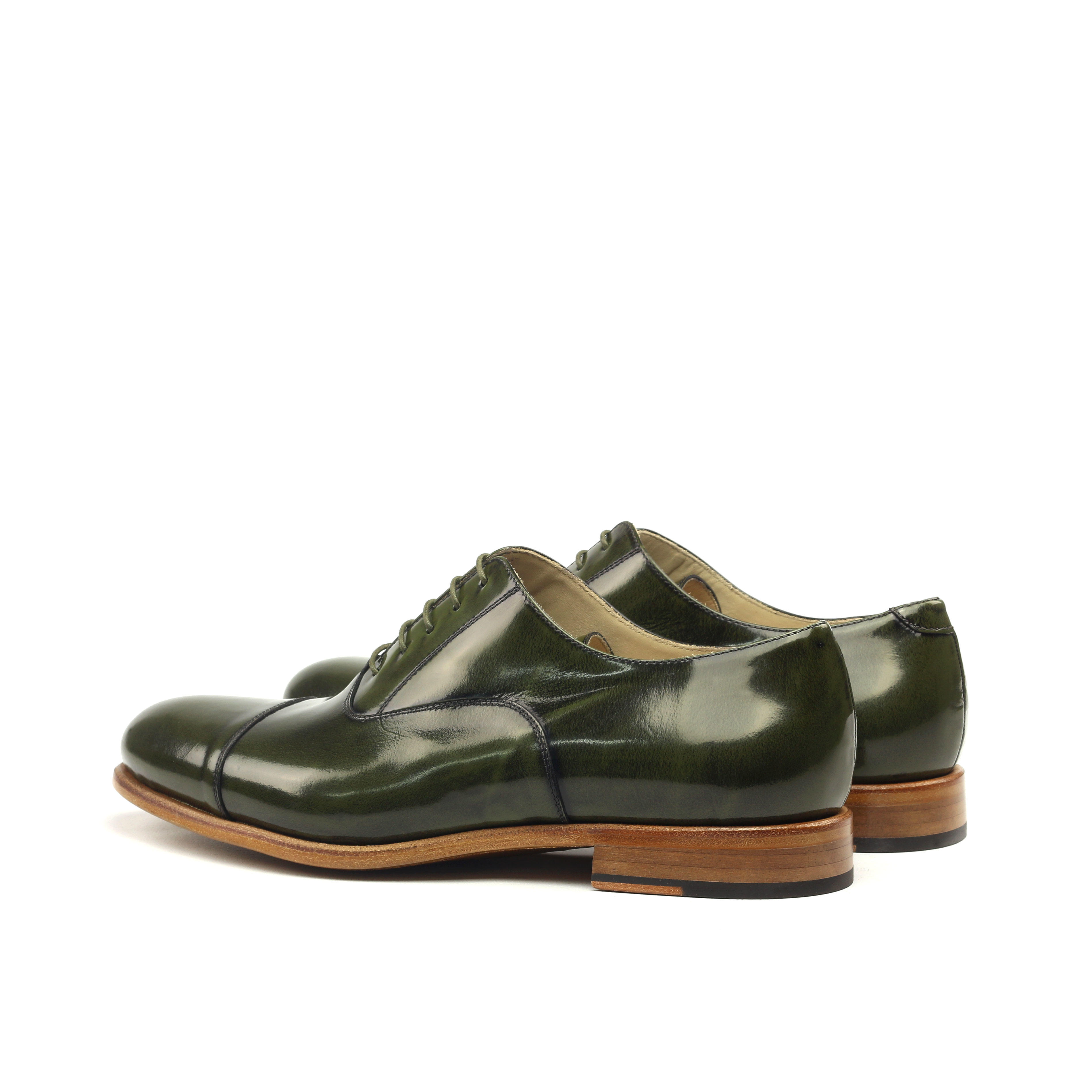 MANOR OF LONDON 'The Oxford' Polished Green Calfskin Shoe Luxury Custom Initials Monogrammed Back Side View