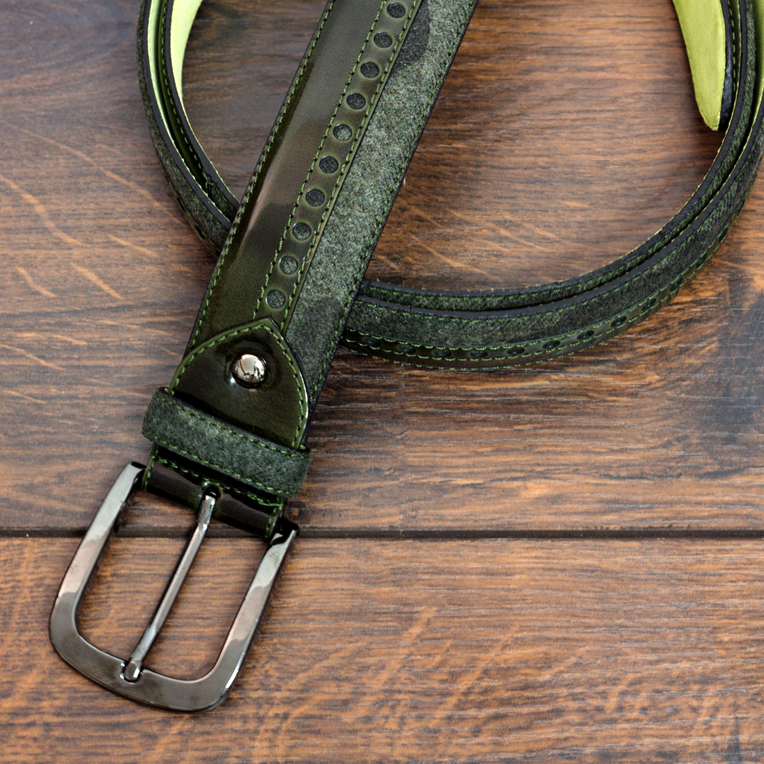 Manor of London 'SunValley' Green Polished Calfskin & Camo Flannel Belt Luxury Mens Belt Leather Buckle Close Up view