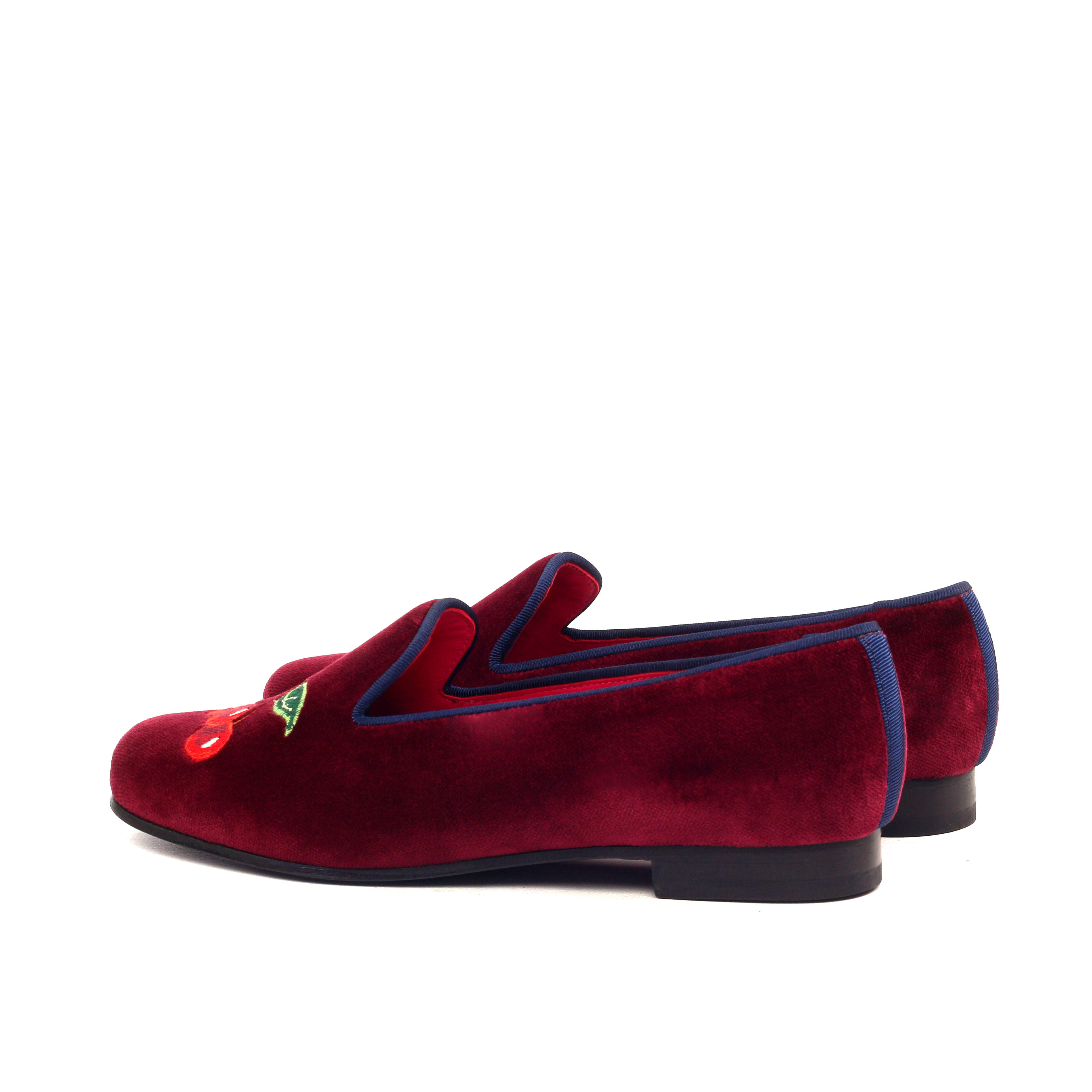 Manor of London CHERRY BOMB Womens Red Velvet Leather Slip On Gold Embroidery Luxury Custom Initials Slippers Back Side View
