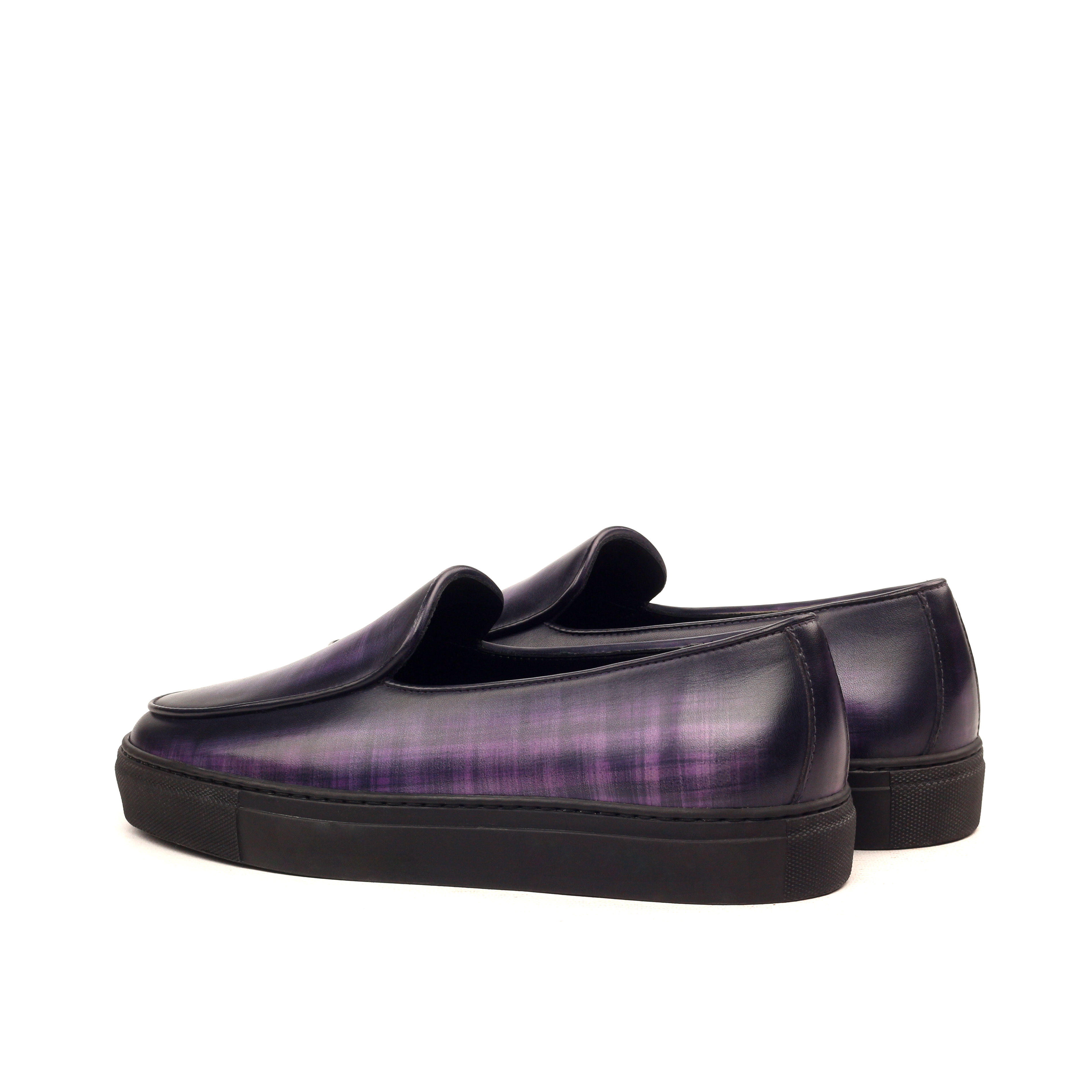 Manor of London 'The Dandy' Purple Patina Calfskin Belgian Trainer Luxury Custom Initials Monogrammed Back Side View
