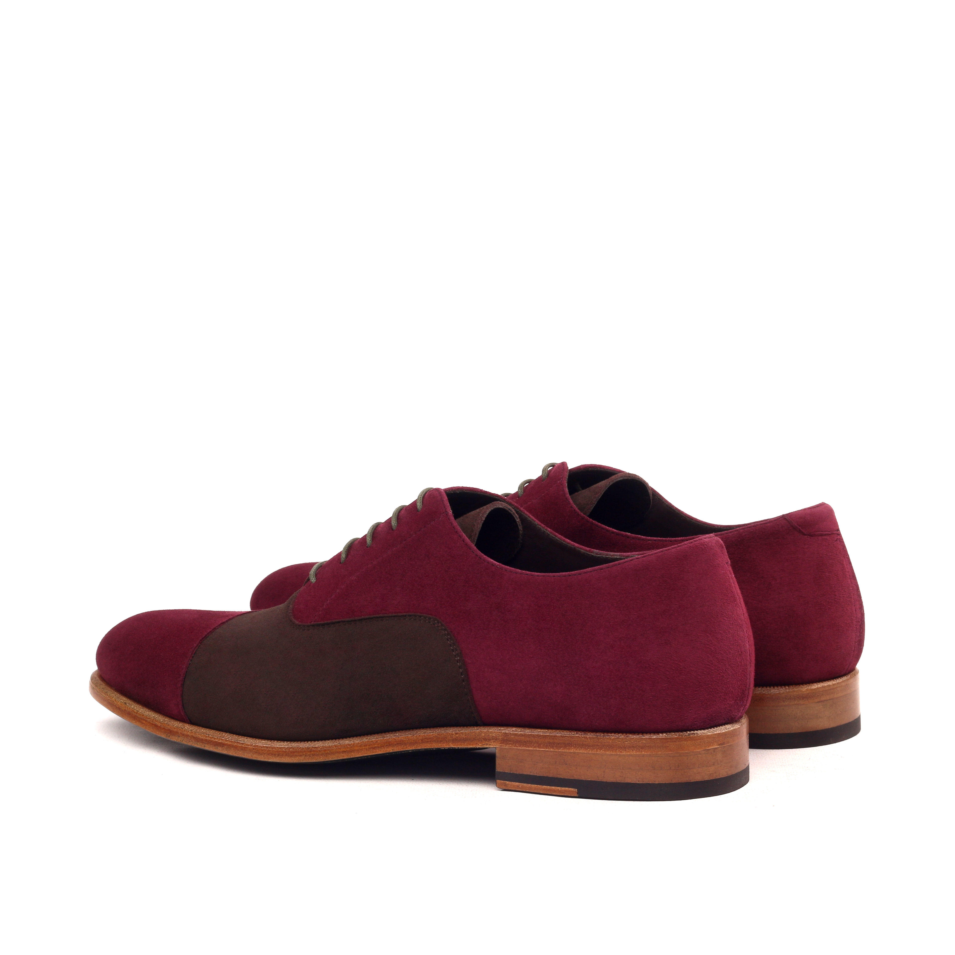 MANOR OF LONDON 'The Oxford' Brown & Wine Suede Shoe Luxury Custom Initials Monogrammed Back Side View