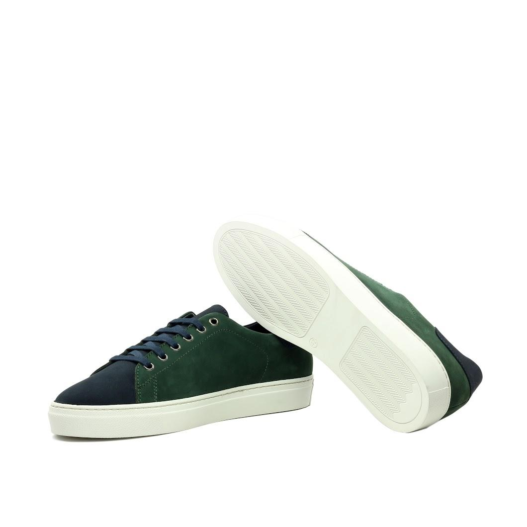 MANOR OF LONDON 'The Perry' Green & Navy Nubuck Tennis Trainer Luxury Custom Initials Monogrammed Bottom Side View