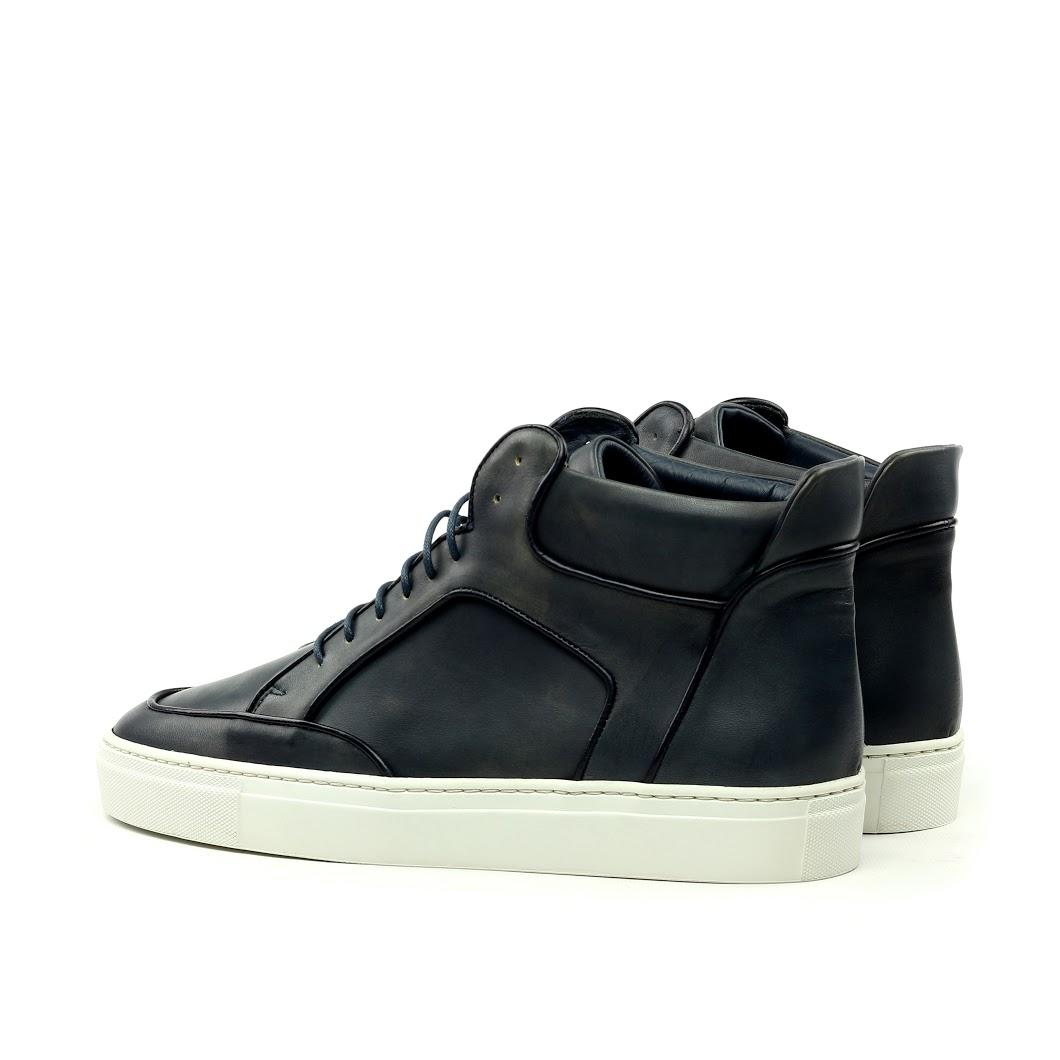 Manor of London 'The Hamilton' Black Calfskin Leather High-Top Trainer Luxury Custom Initials Monogrammed Back Side View