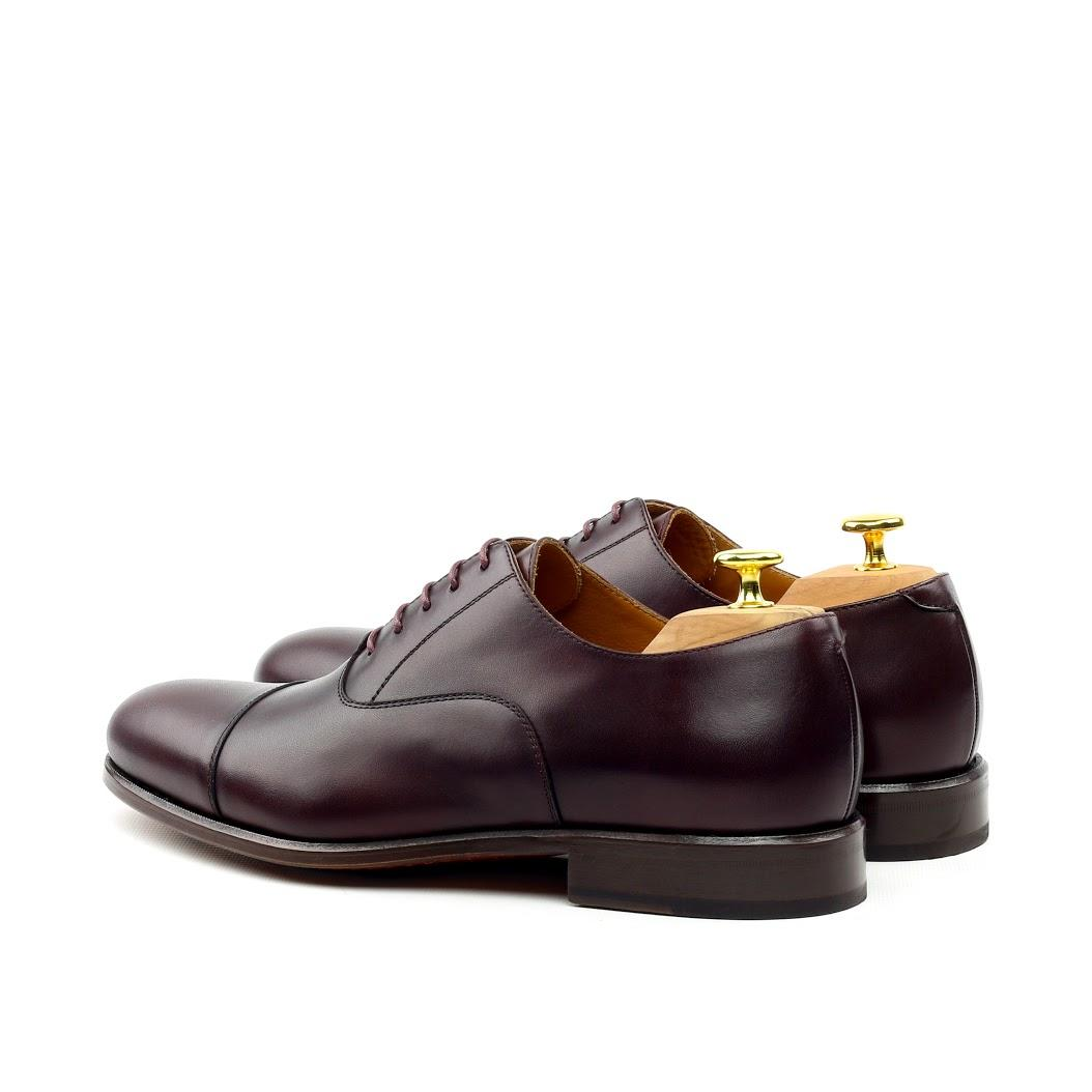 MANOR OF LONDON ''The Oxford' Oxblood Calfskin Shoe Luxury Custom Initials Monogrammed Back Side View