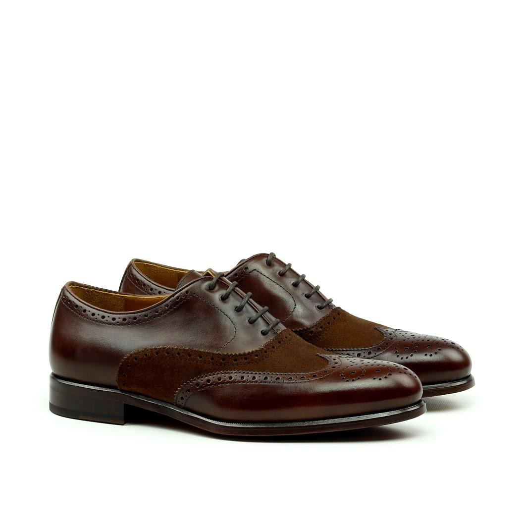 MANOR OF LONDON 'The Marylebone' Brown Calfskin & Suede Brogue Luxury Custom Initials Monogrammed Front Side View