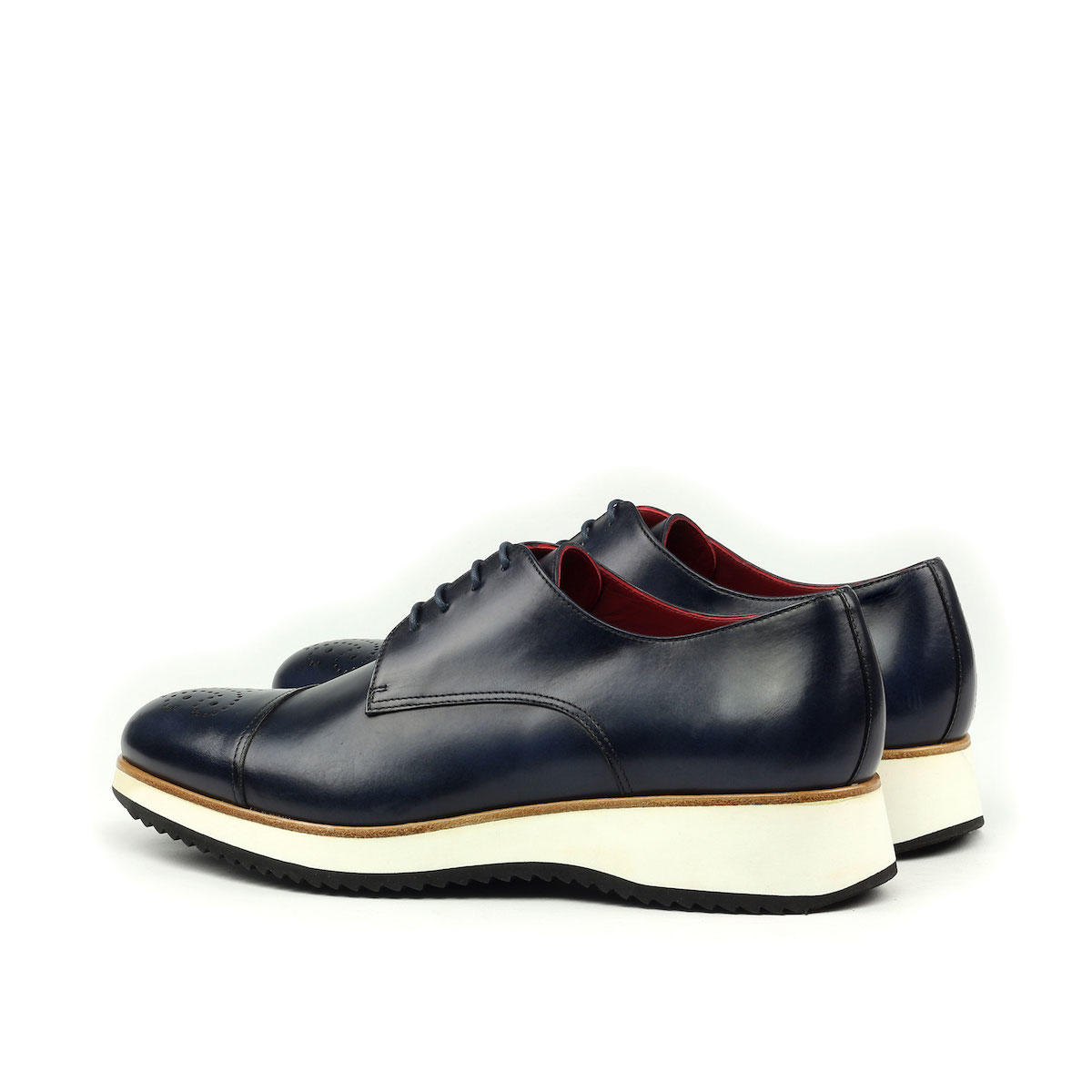 Manor of London 'The Derby'  Navy Painted Calfskin w/ Running Sole Shoe Luxury Custom Initials Monogrammed Back Side View