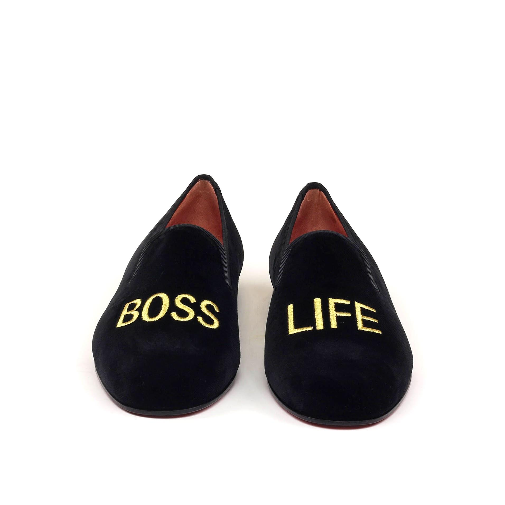 BOSS LIFE Mens Black Velvet Leather Slip On Gold Embroidery Luxury Custom Initials Slippers Front View
