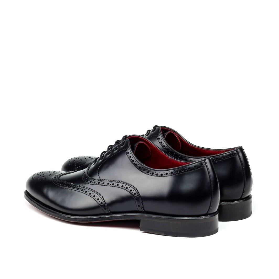 MANOR OF LONDON 'The Marylebone' Black Calfskin Brogue Luxury Custom Initials Monogrammed Back Side View