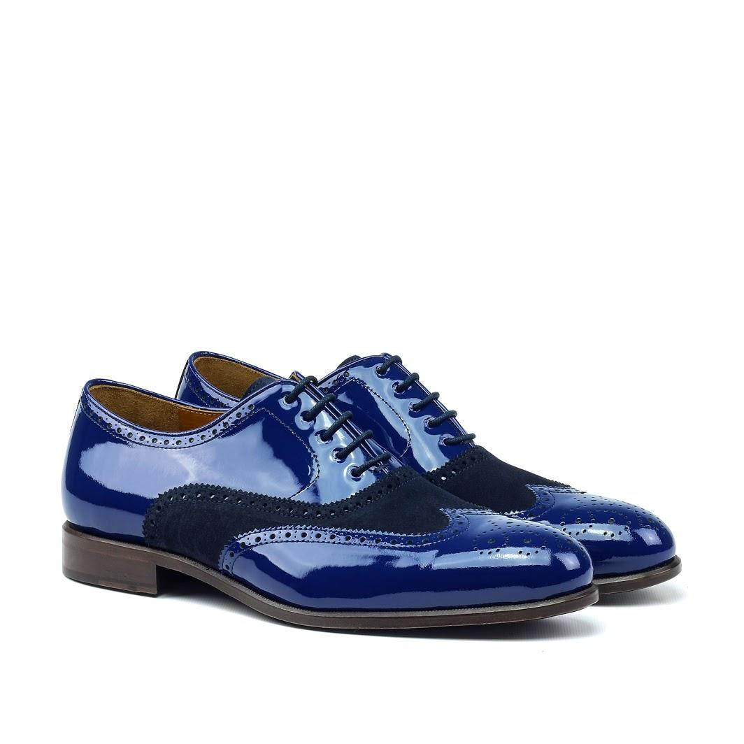 MANOR OF LONDON 'The Marylebone' Blue Patent Calfskin / Suede Brogue Luxury Custom Initials Monogrammed Front Side View