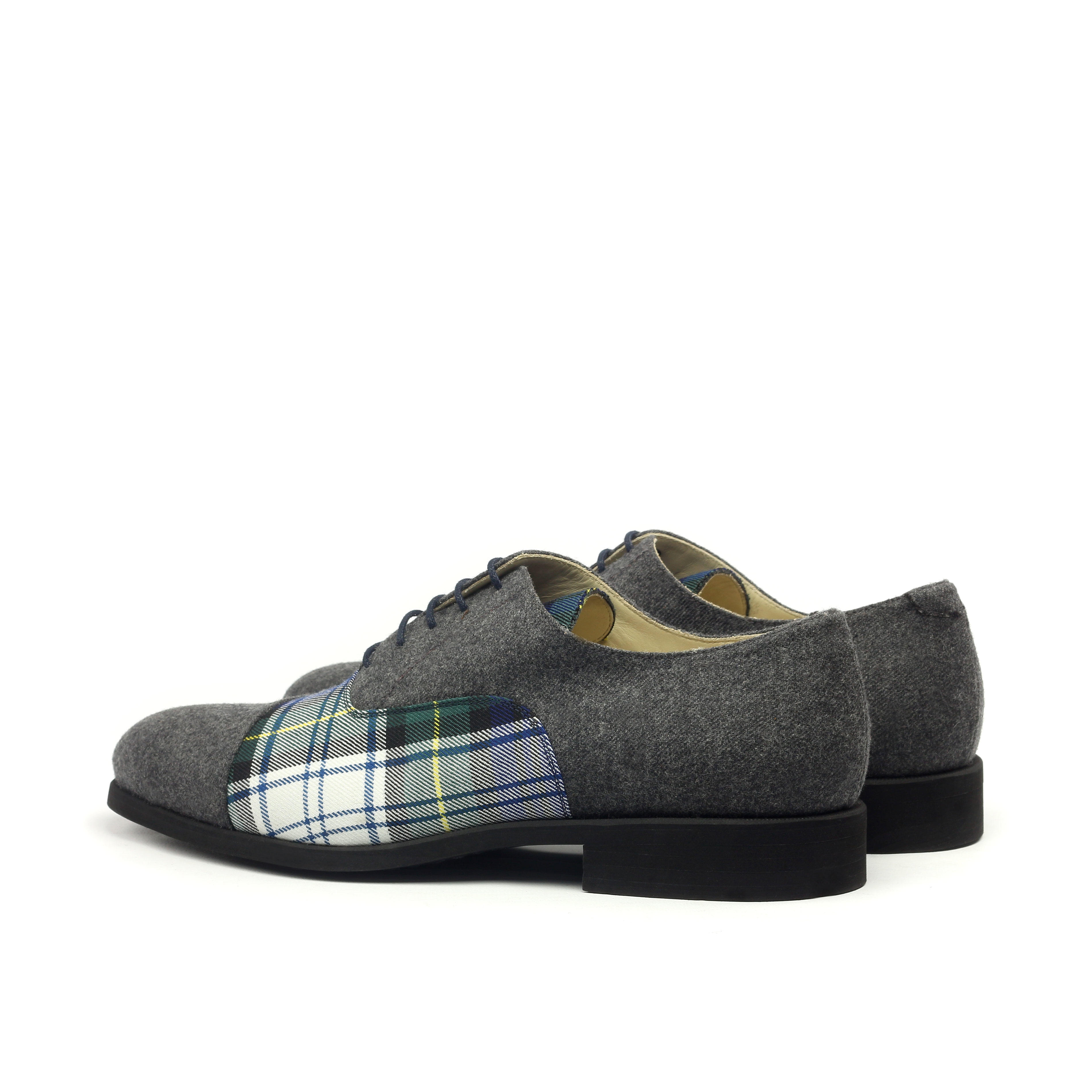 MANOR OF LONDON 'The Oxford' Grey Flannel & Tartan Shoe Luxury Custom Initials Monogrammed Back Side View