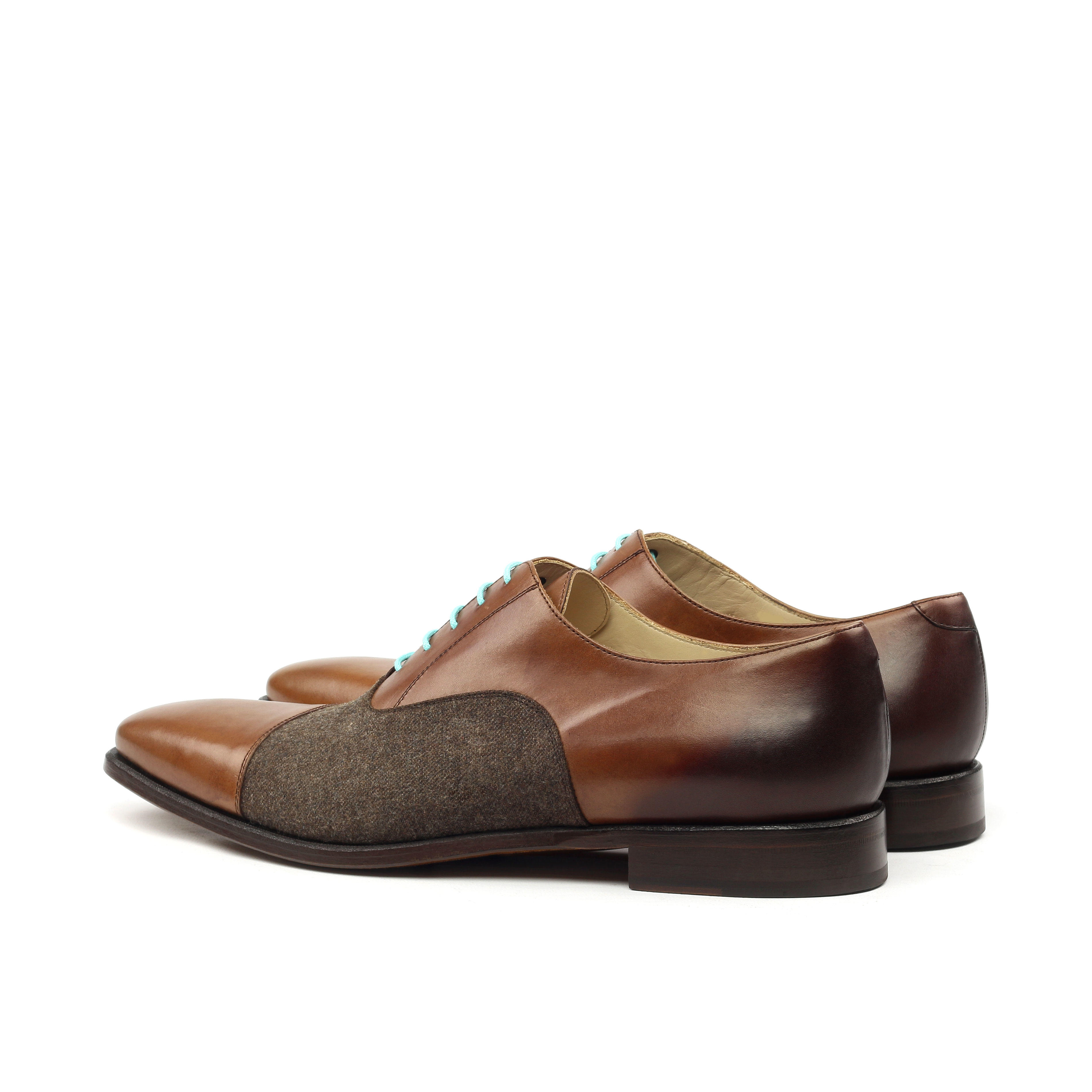MANOR OF LONDON 'The Oxford' Medium Brown Painted Calfskin & Flannel Shoe Luxury Custom Initials Monogrammed Back Side View