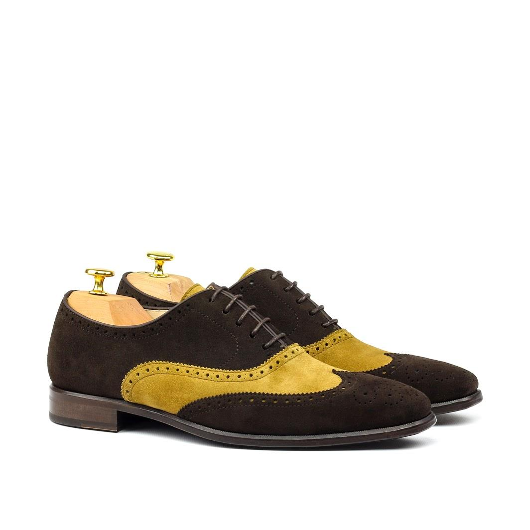 MANOR OF LONDON 'The Marylebone' Brown & Mustard Suede Brogue Luxury Custom Initials Monogrammed Front Side View