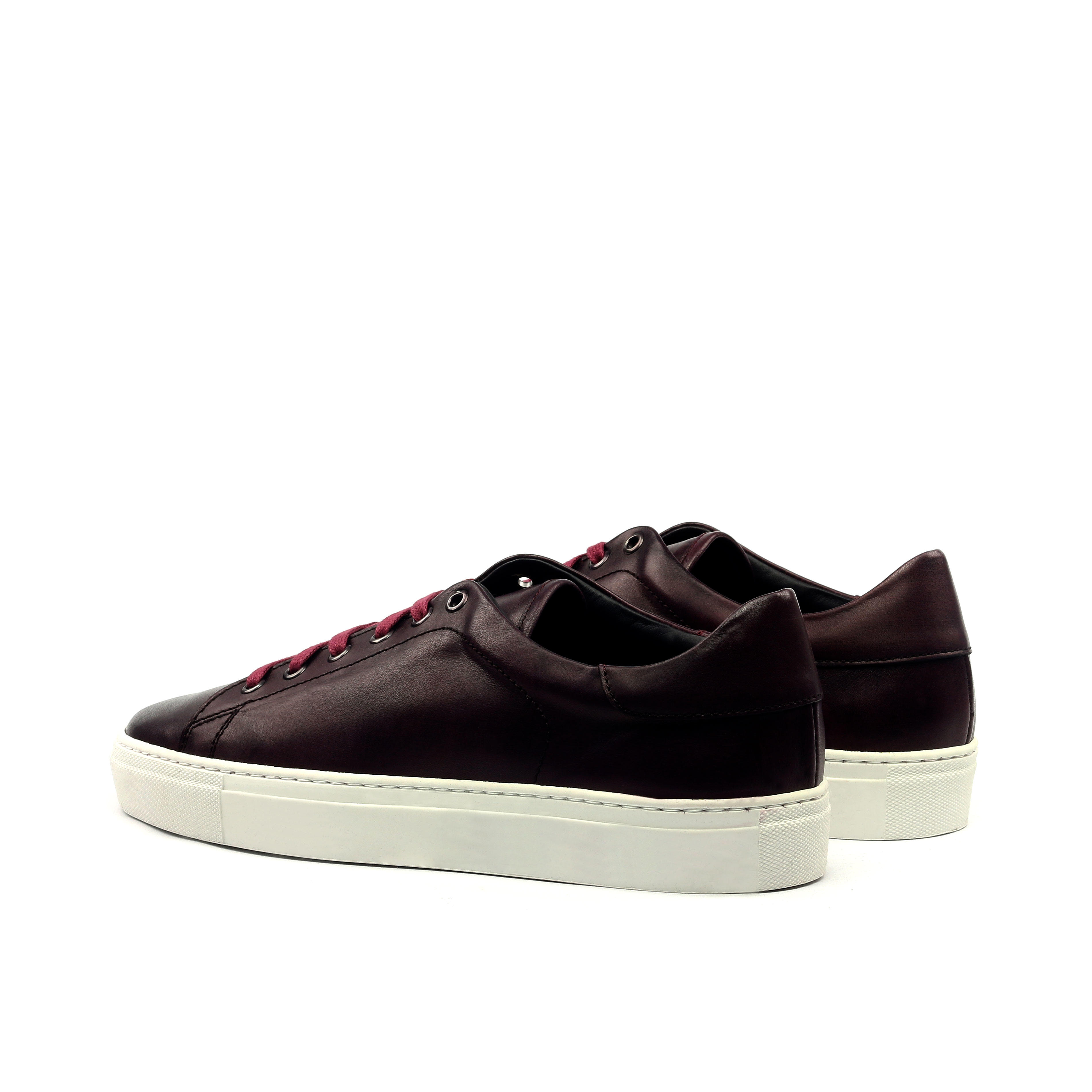 MANOR OF LONDON 'The Perry' Painted Oxblood Calfskin Tennis Trainer Luxury Custom Initials Monogrammed Back Side View