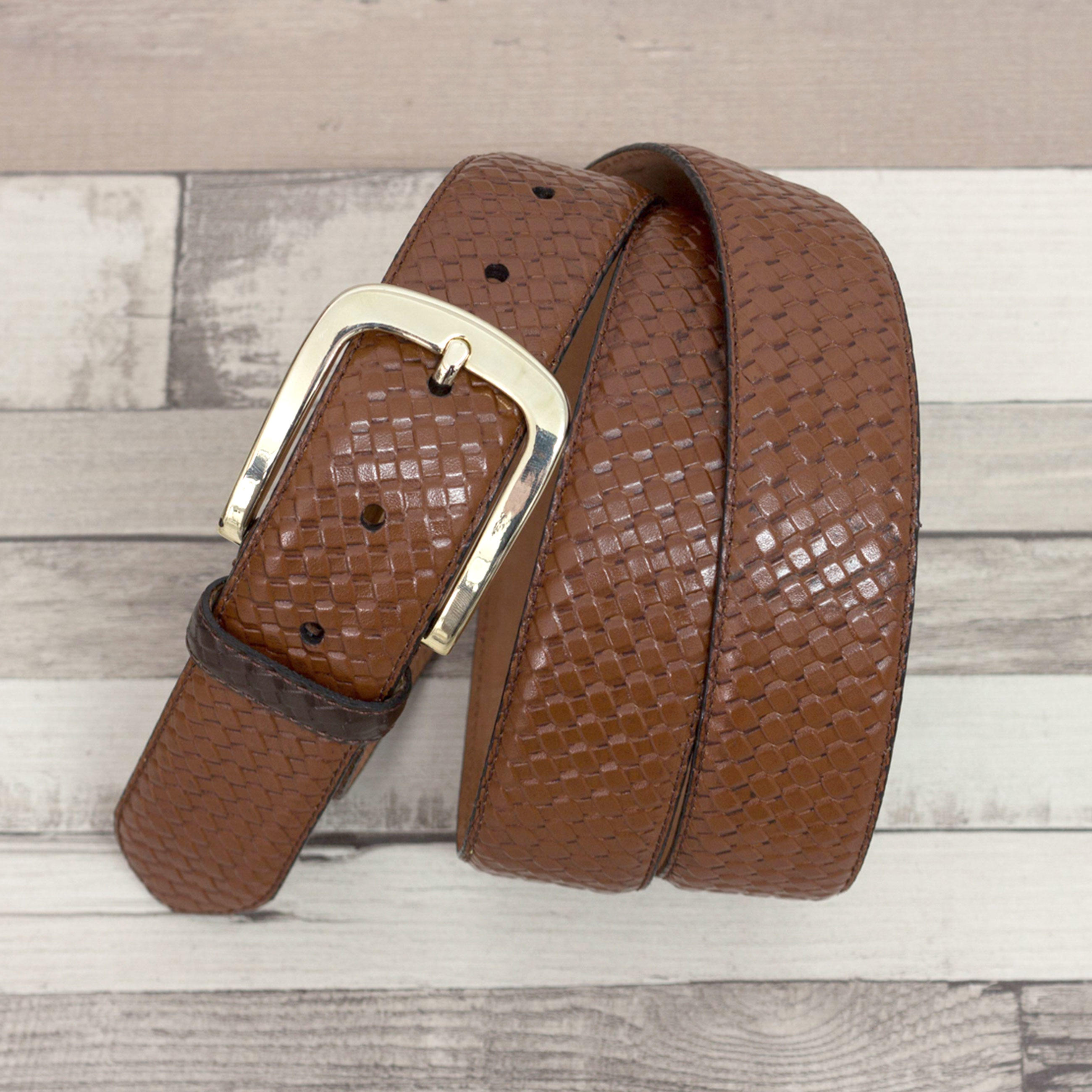 'Hamptons' Braided Cognac & Brown Polished Calfskin Belt Luggare nubuck lining Top View
