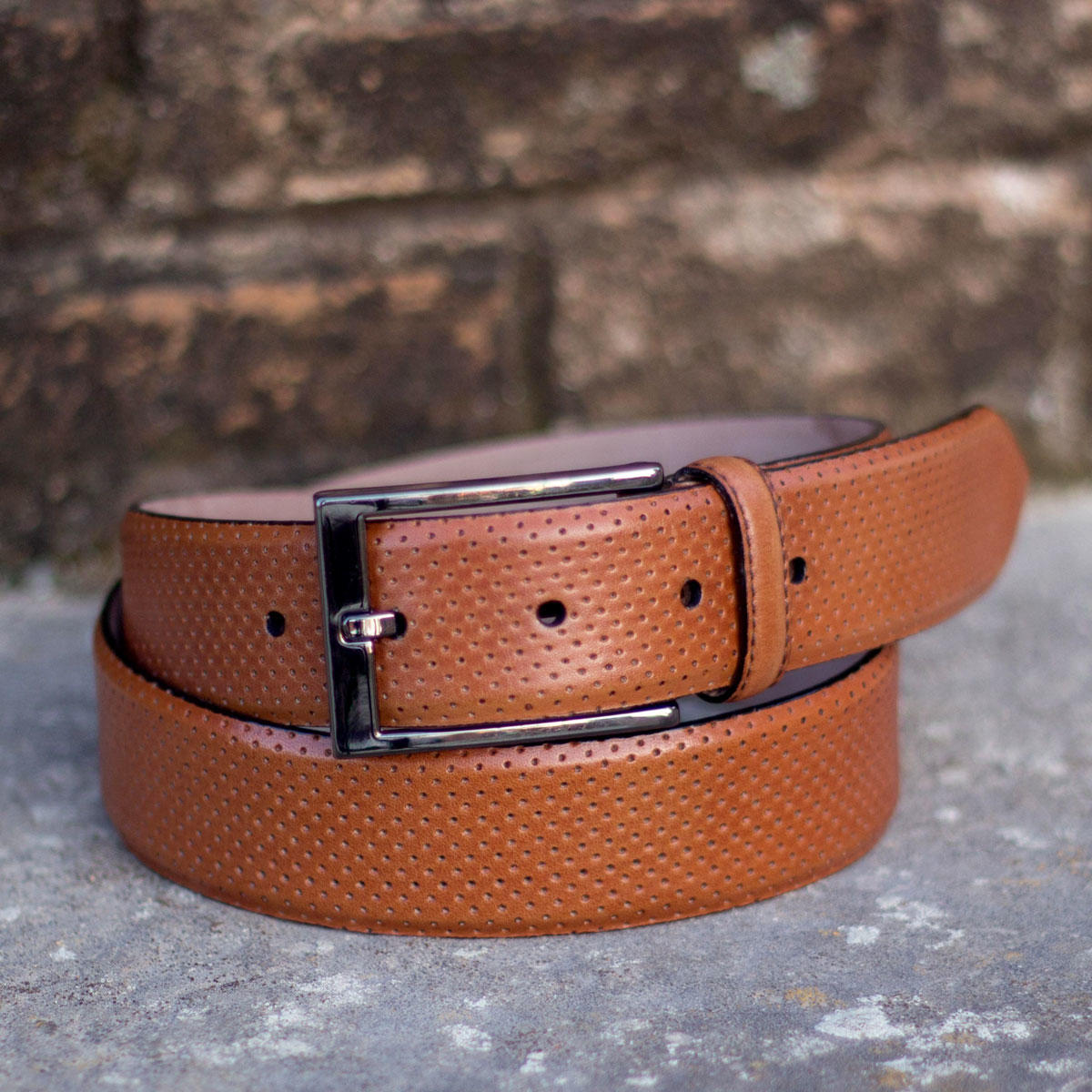 Manor of London 'Hamptons' Perforated Painted Cognac Calfskin Luxury Leather Belt Front View