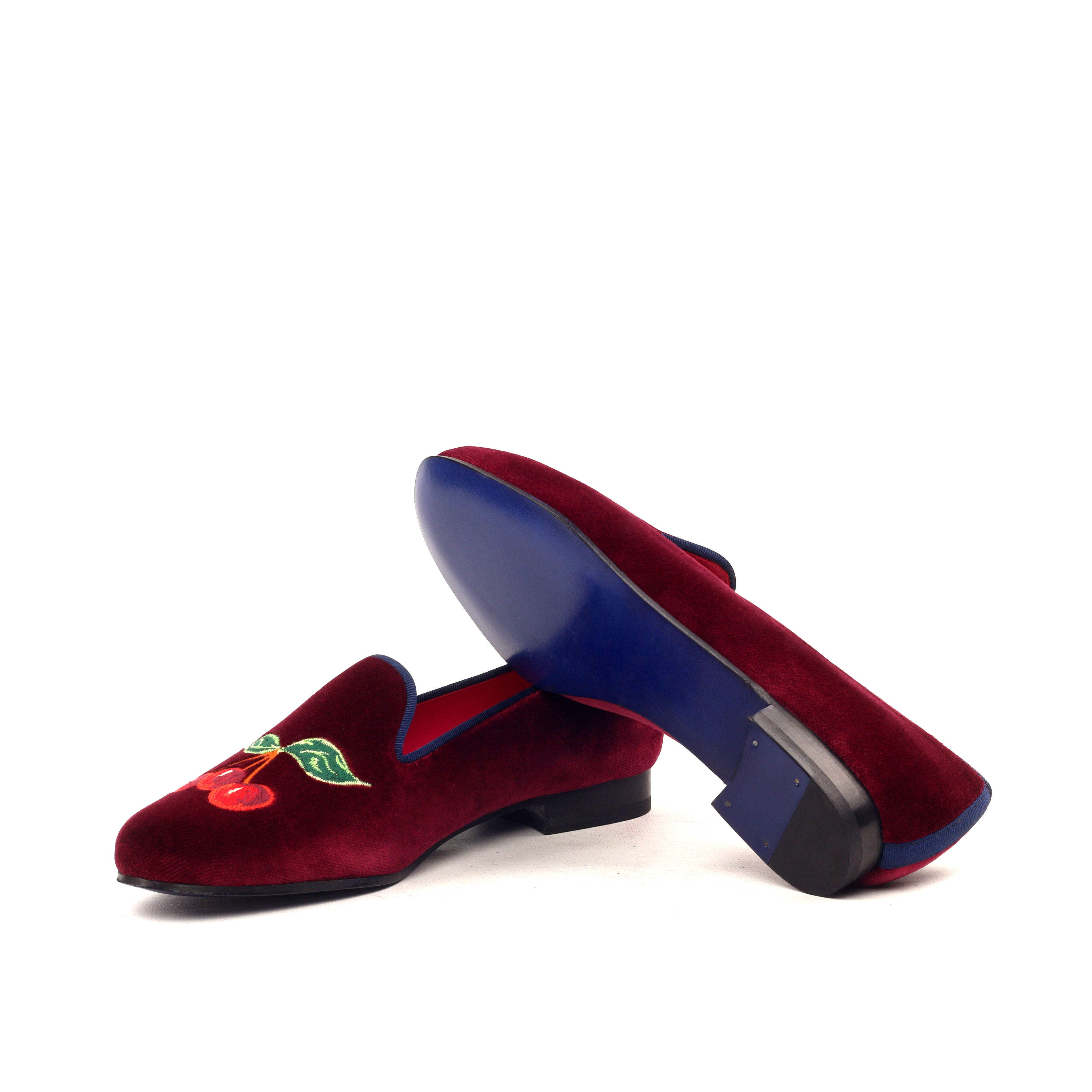 Manor of London CHERRY BOMB Womens Red Velvet Leather Slip On Gold Embroidery Luxury Custom Initials Slippers Side Bottom View