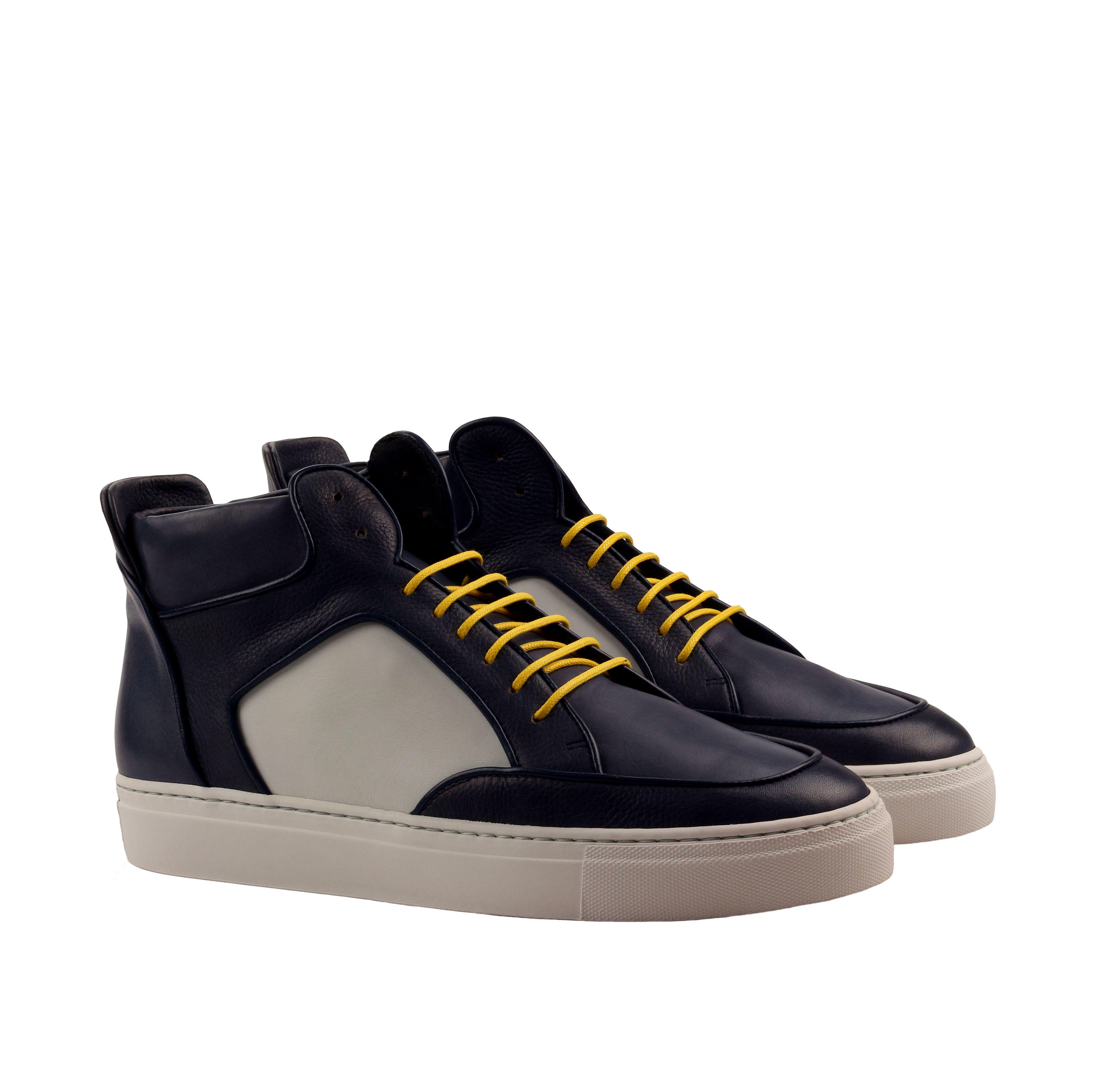 Manor of London 'The Hamilton' Painted Navy & White Calfskin Leather High-Top Trainer Luxury Custom Initials Monogrammed Front Side View
