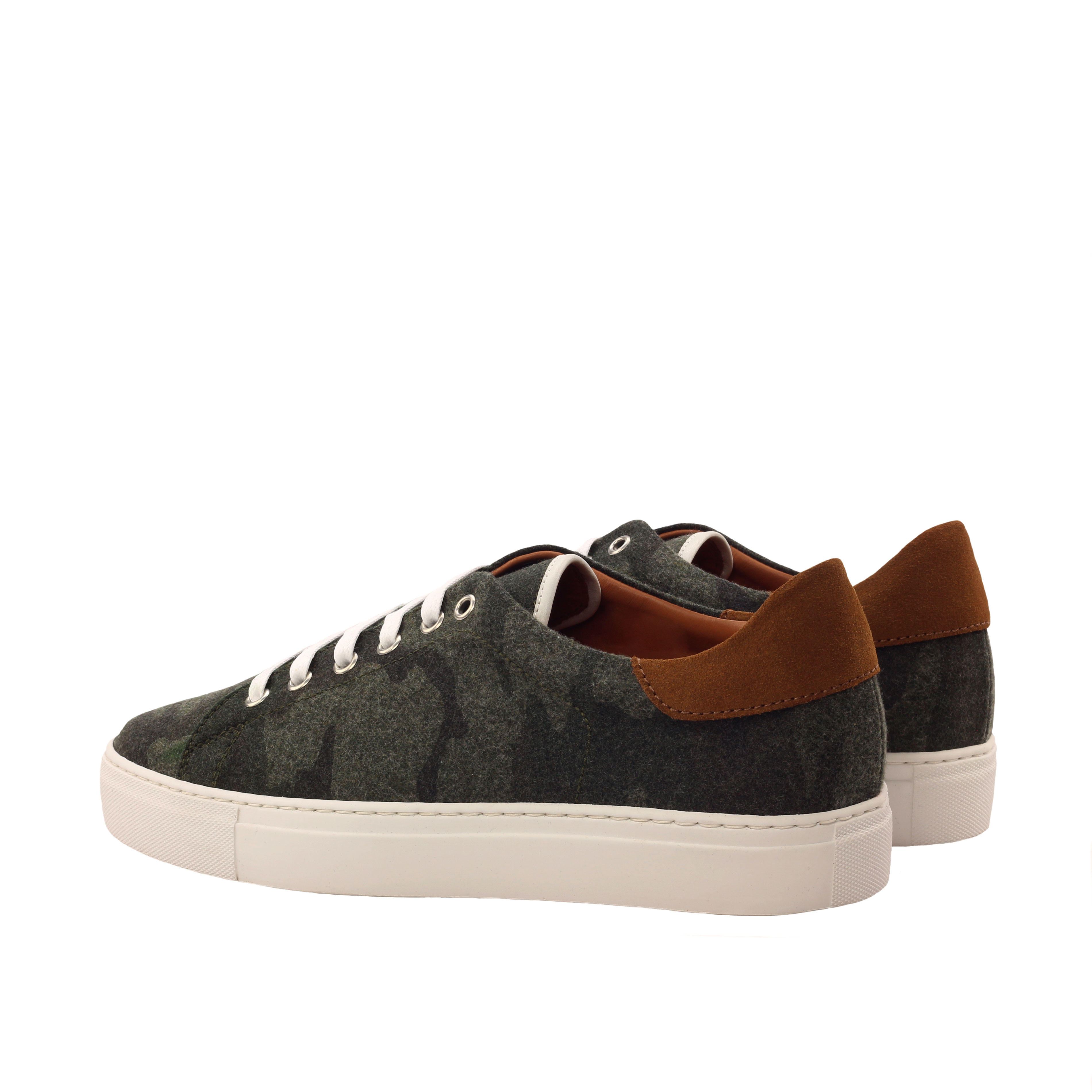 MANOR OF LONDON 'The Perry' Camo Flannel Tennis Trainer Luxury Custom Initials Monogrammed Back Side View