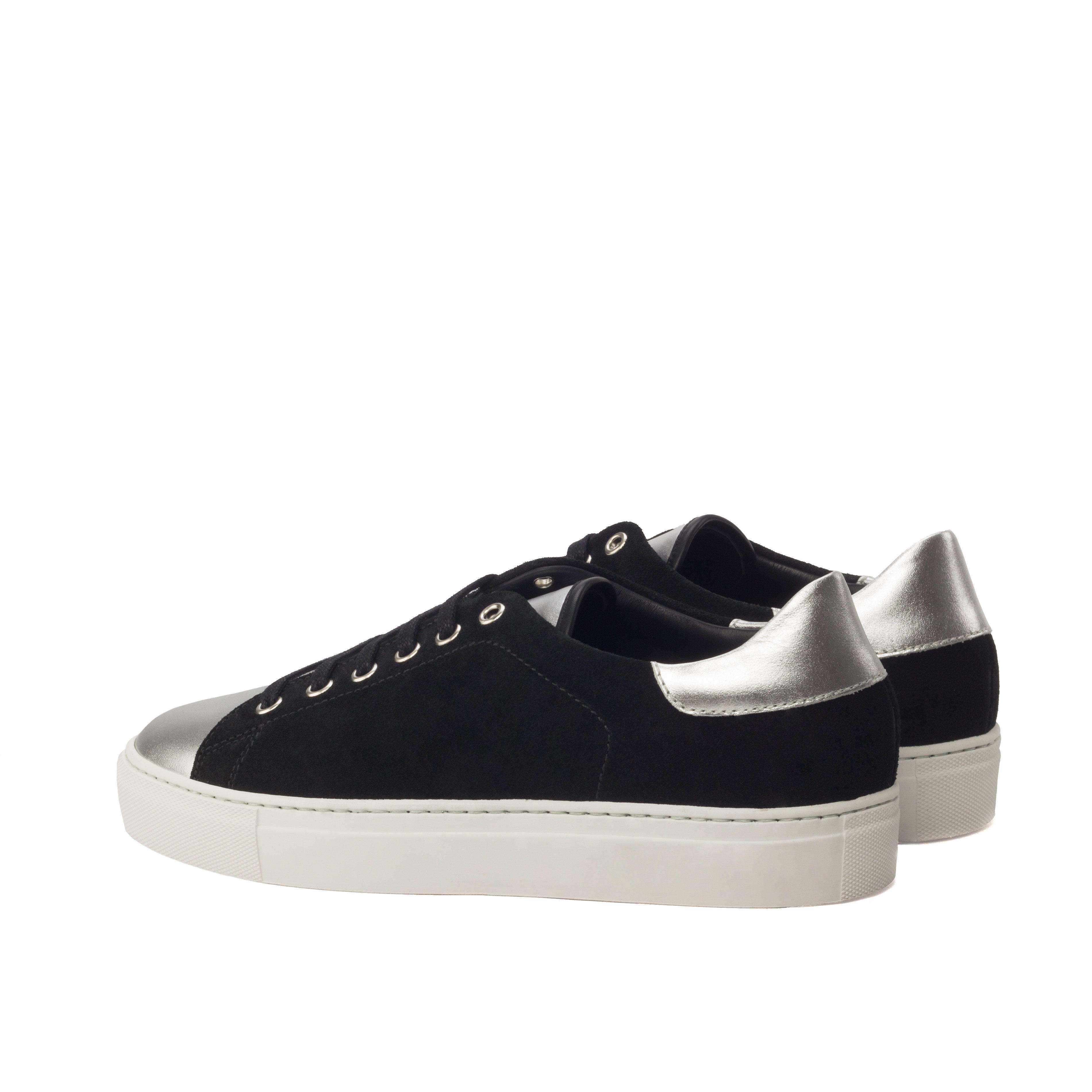 MANOR OF LONDON 'The Perry' Black Suede & Chrome Calfskin Tennis Trainer Luxury Custom Initials Monogrammed Back Side View