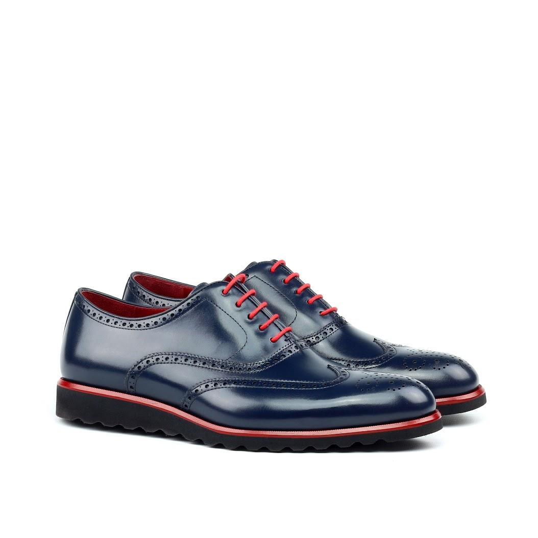 MANOR OF LONDON 'The Marylebone' Blue Calfskin Sportwedge Brogue Luxury Custom Initials Monogrammed Front Side View