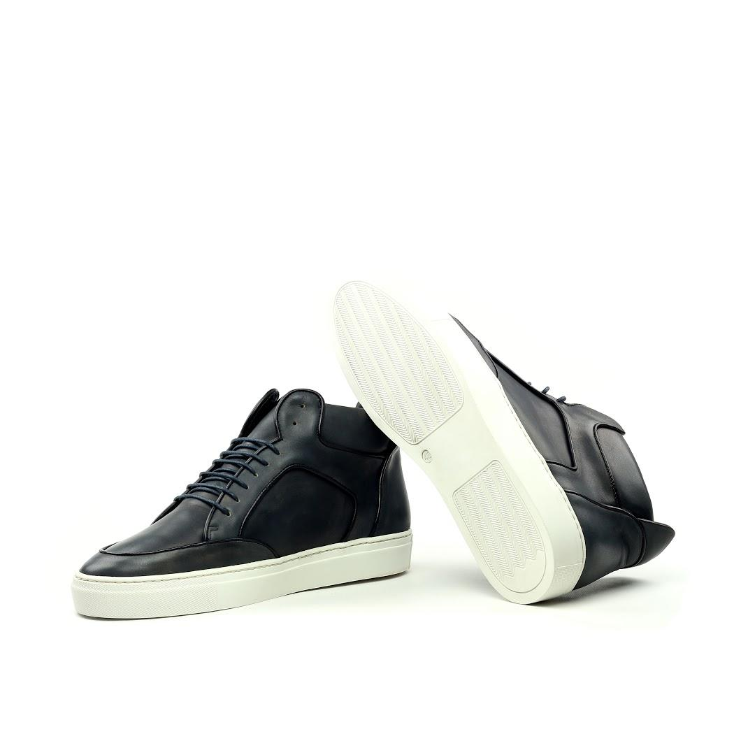 Manor of London 'The Hamilton' Black Calfskin Leather High-Top Trainer Luxury Custom Initials Monogrammed Bottom Side View