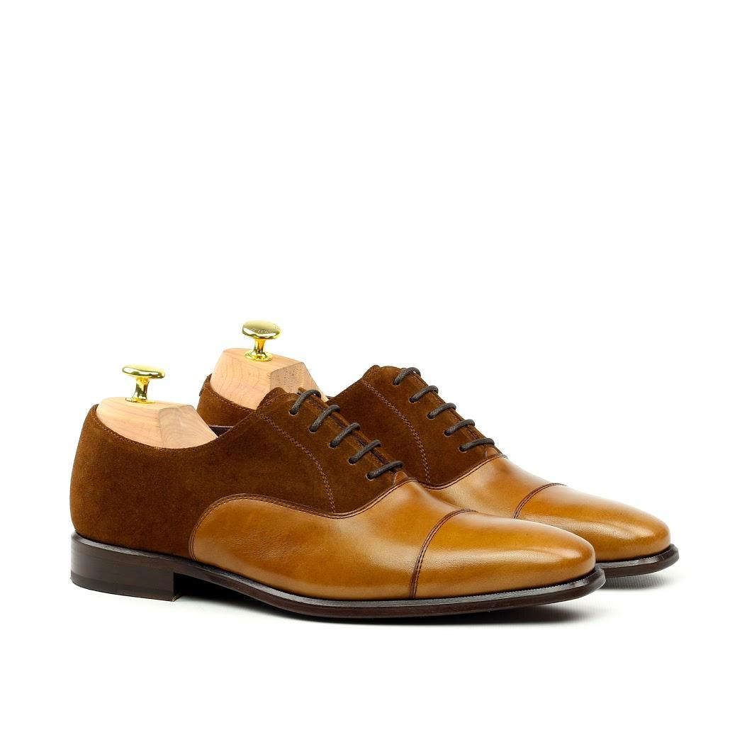 MANOR OF LONDON 'The Oxford' Cognac Suede & Calfskin Shoe Luxury Custom Initials Monogrammed Front Side View