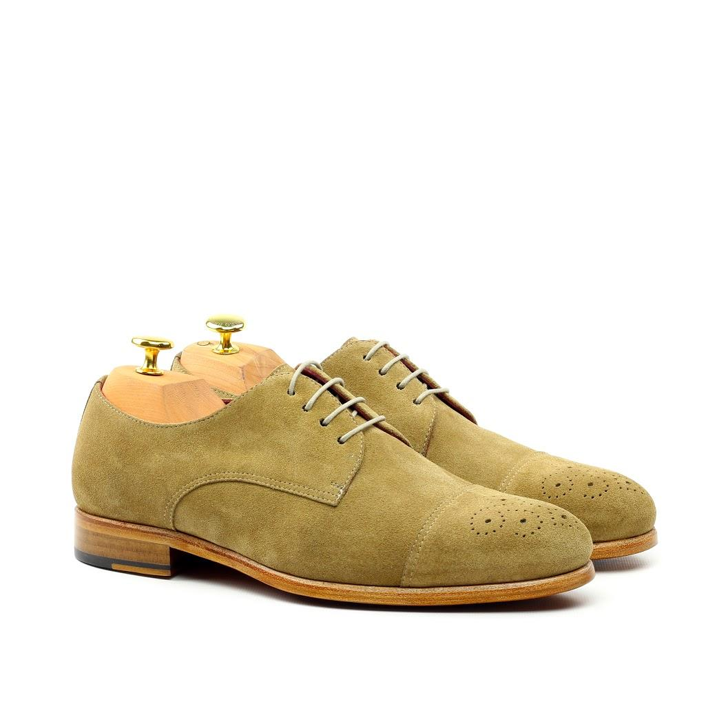 Manor of London 'The Derby' Camel Suede Punched Toe Shoe Luxury Custom Initials Monogrammed Front Side View