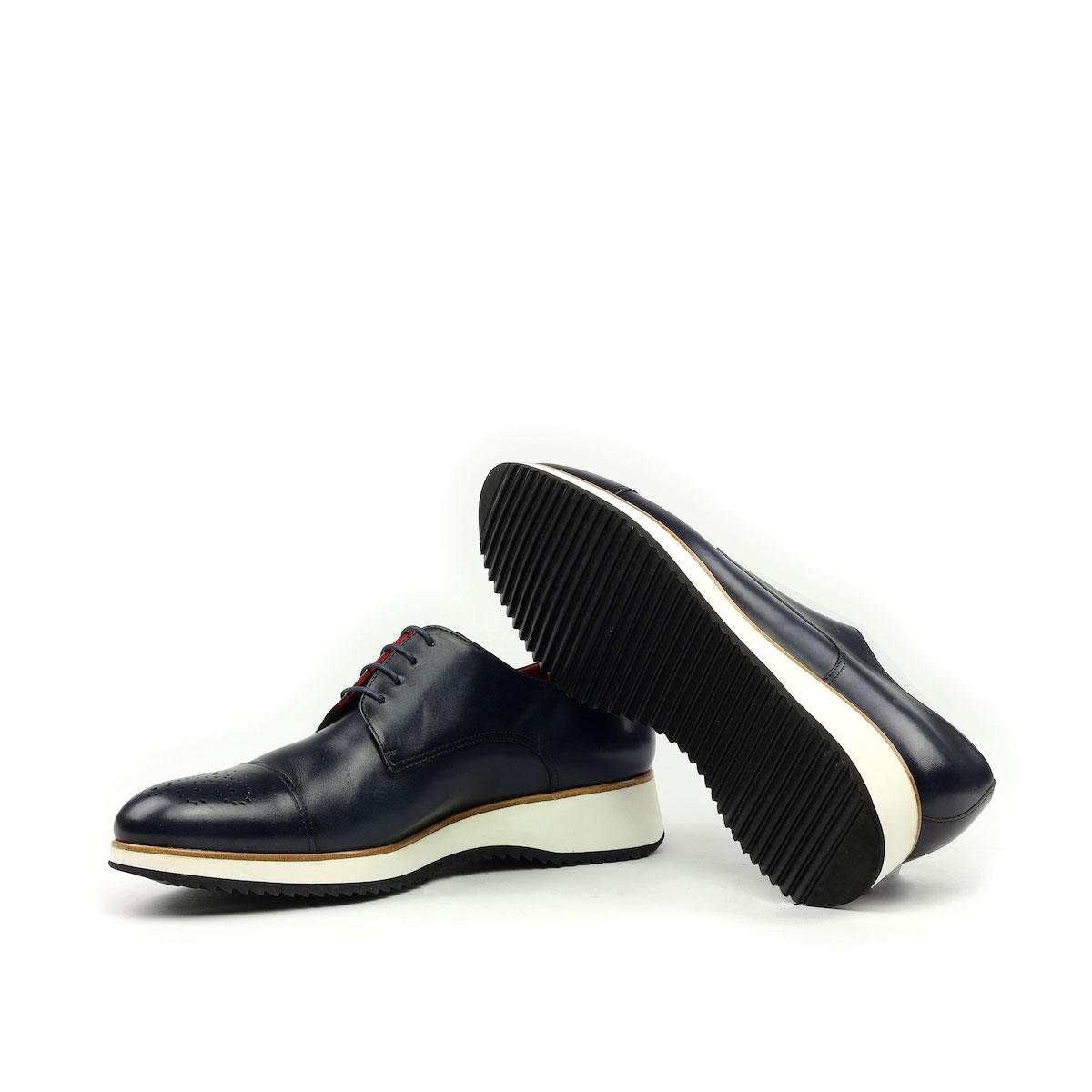 Manor of London 'The Derby'  Navy Painted Calfskin w/ Running Sole Shoe Luxury Custom Initials Monogrammed Bottom & Top Side View