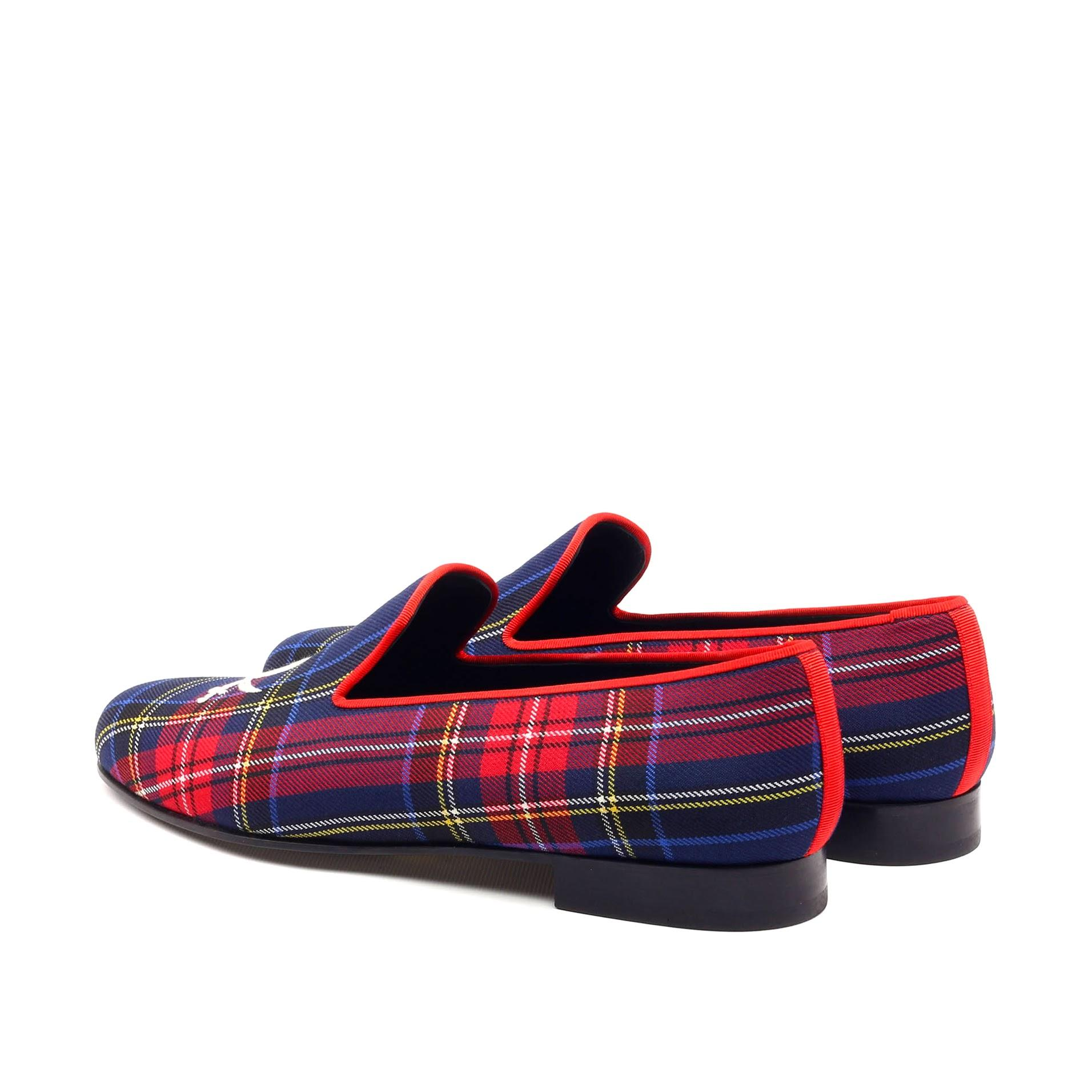 Manor of London 'Jolly Roger' Navy Mens Tartan Leather Luxury Slip On Slippers Back Side View
