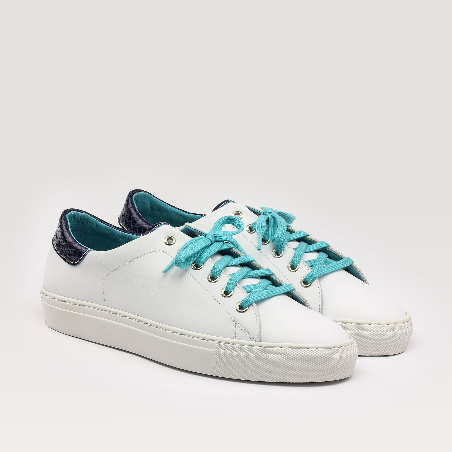 MANOR OF LONDON 'The Perry' White Calfskin & Blue Croco Tennis Trainer Luxury Custom Initials Monogrammed Front Side View