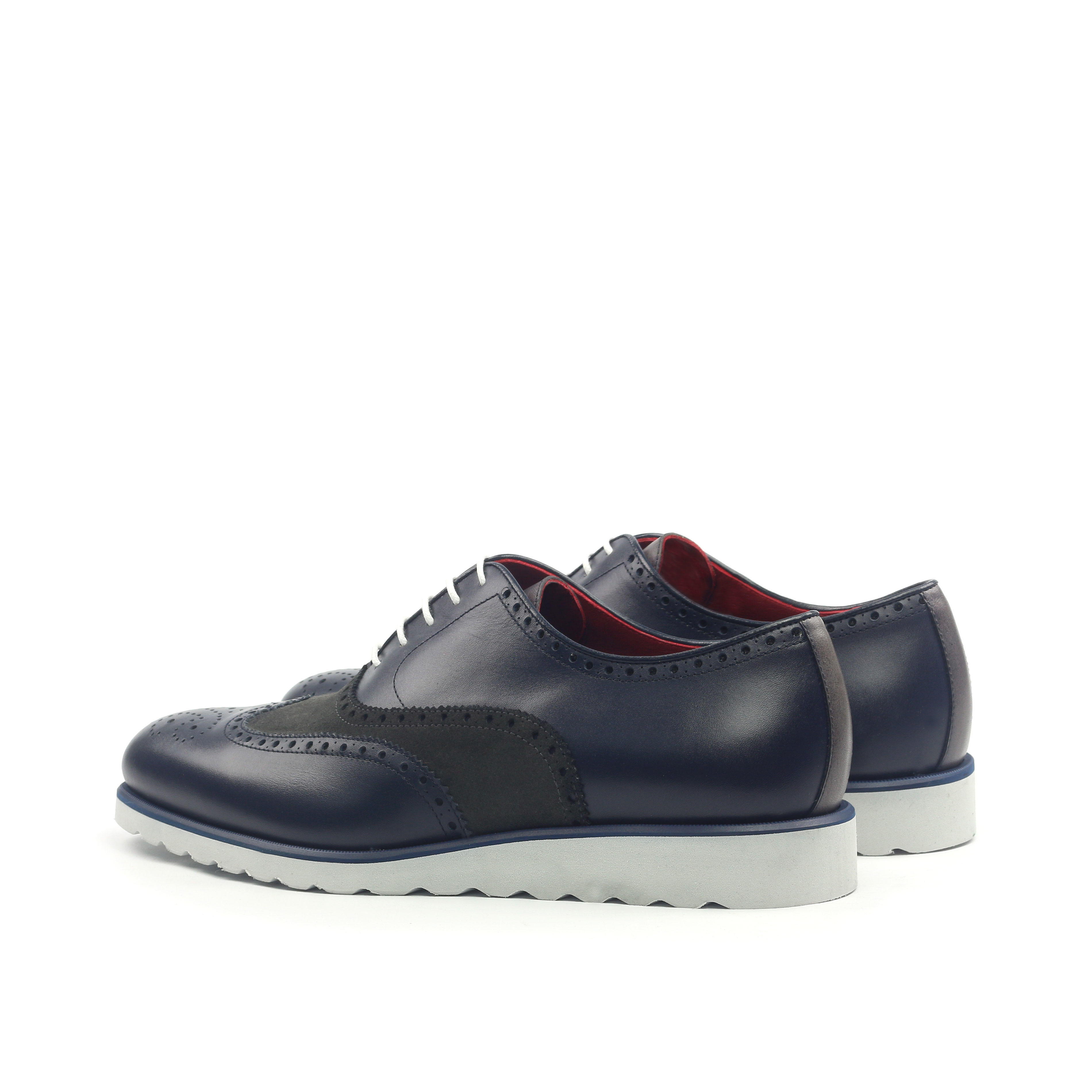 MANOR OF LONDON 'The Marylebone' Navy Calfskin & Grey Suede Sportwedge Brogue Luxury Custom Initials Monogrammed Back Side View