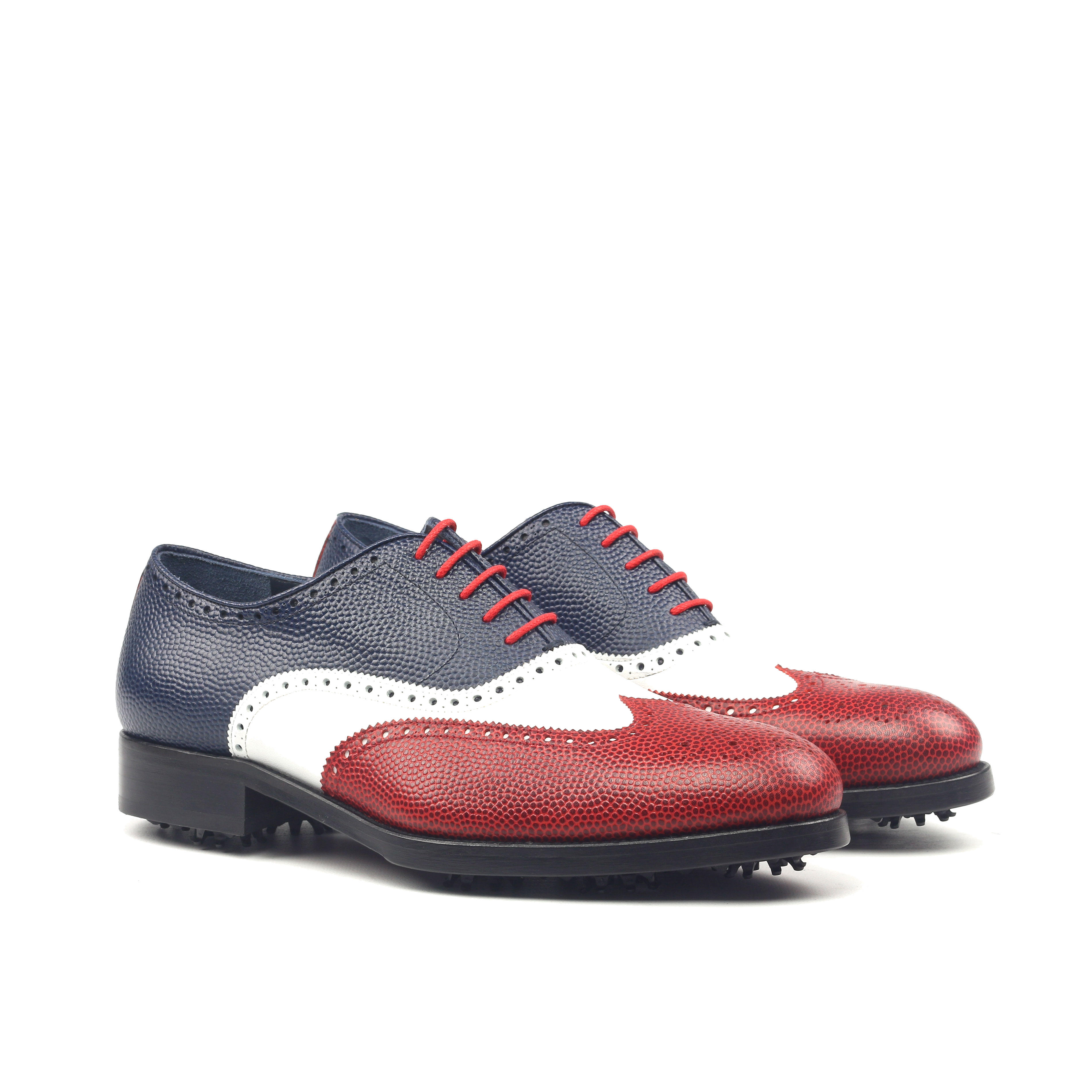 MANOR OF LONDON 'The Marylebone' Tri-Colour Pebble Grain Golfing Brogue Luxury Custom Initials Monogrammed Front Side View