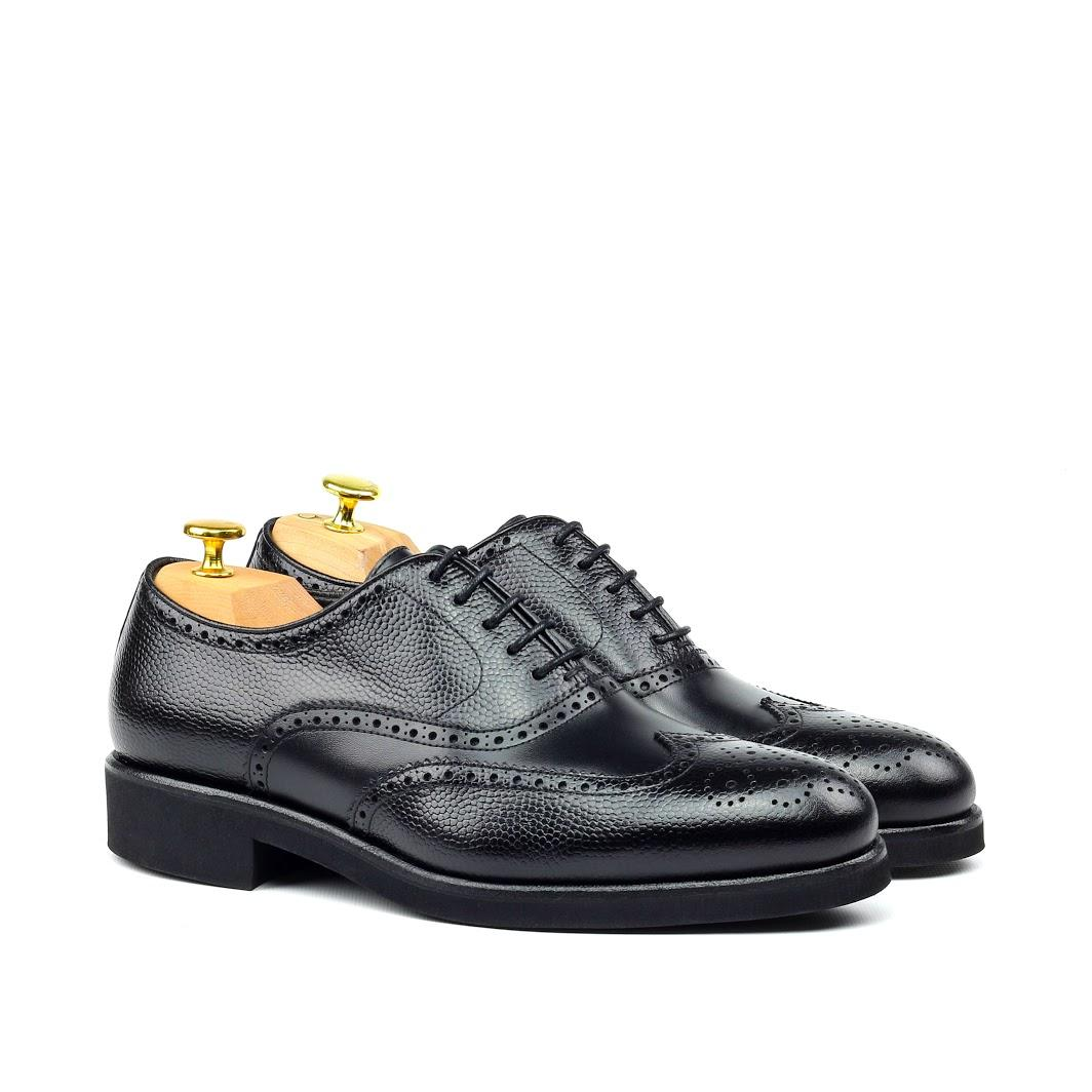 MANOR OF LONDON 'The Marylebone' Black Pebble Grain Calfskin Brogue Luxury Custom Initials Monogrammed Front Side View