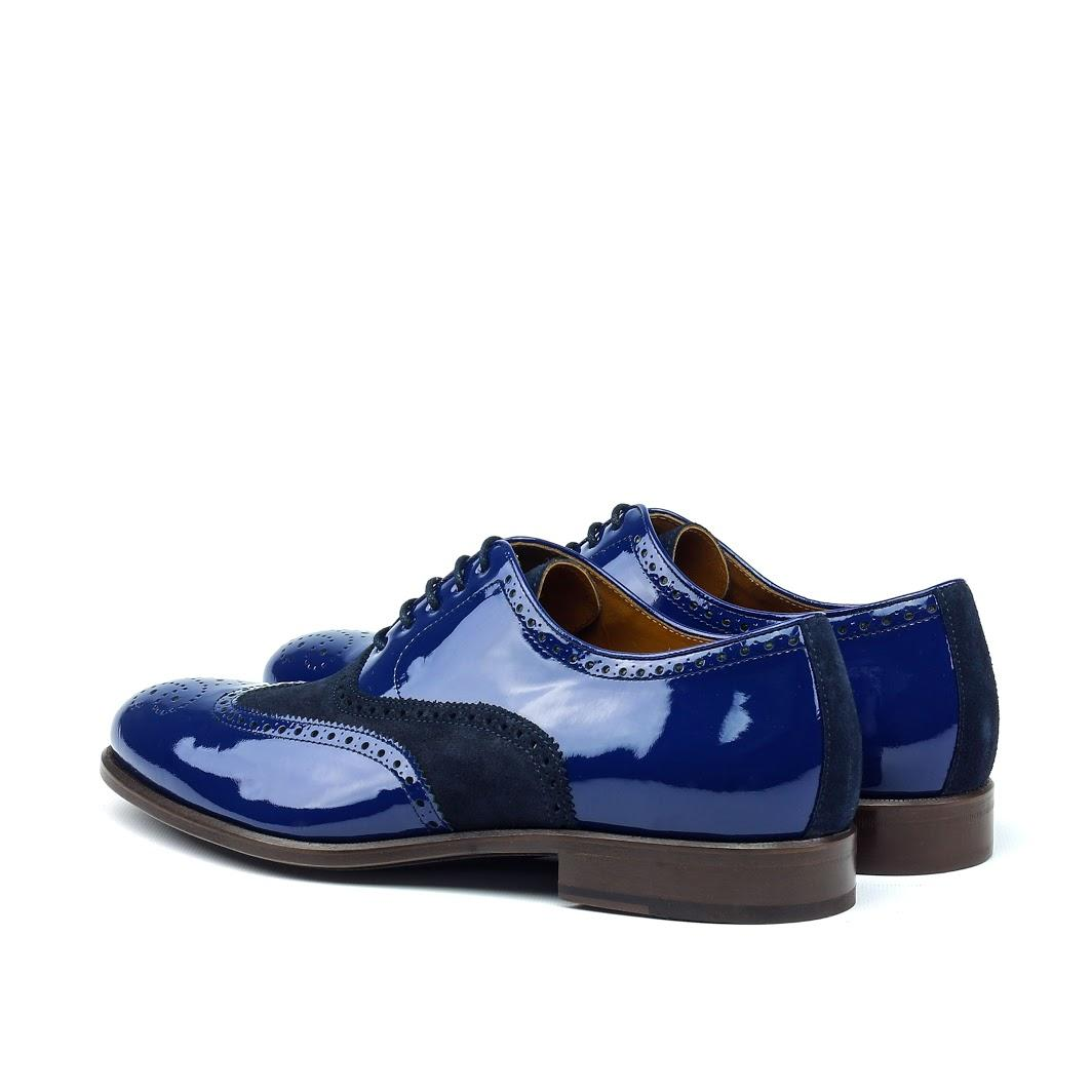 MANOR OF LONDON 'The Marylebone' Blue Patent Calfskin / Suede Brogue Luxury Custom Initials Monogrammed Back Side View