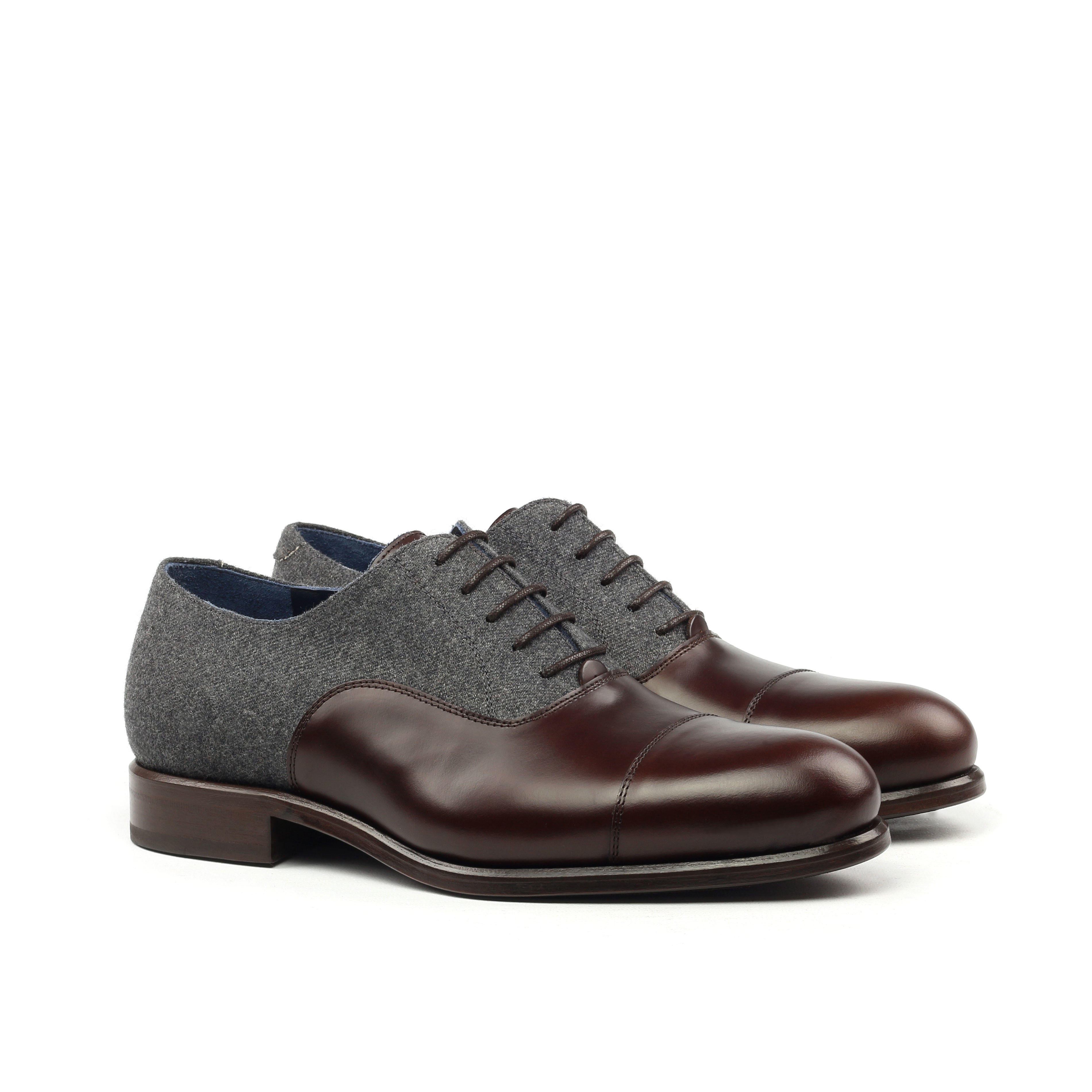 MANOR OF LONDON 'The Oxford' Polished Brown Calfskin & Grey Flannel Shoe Luxury Custom Initials Monogrammed Front Side View