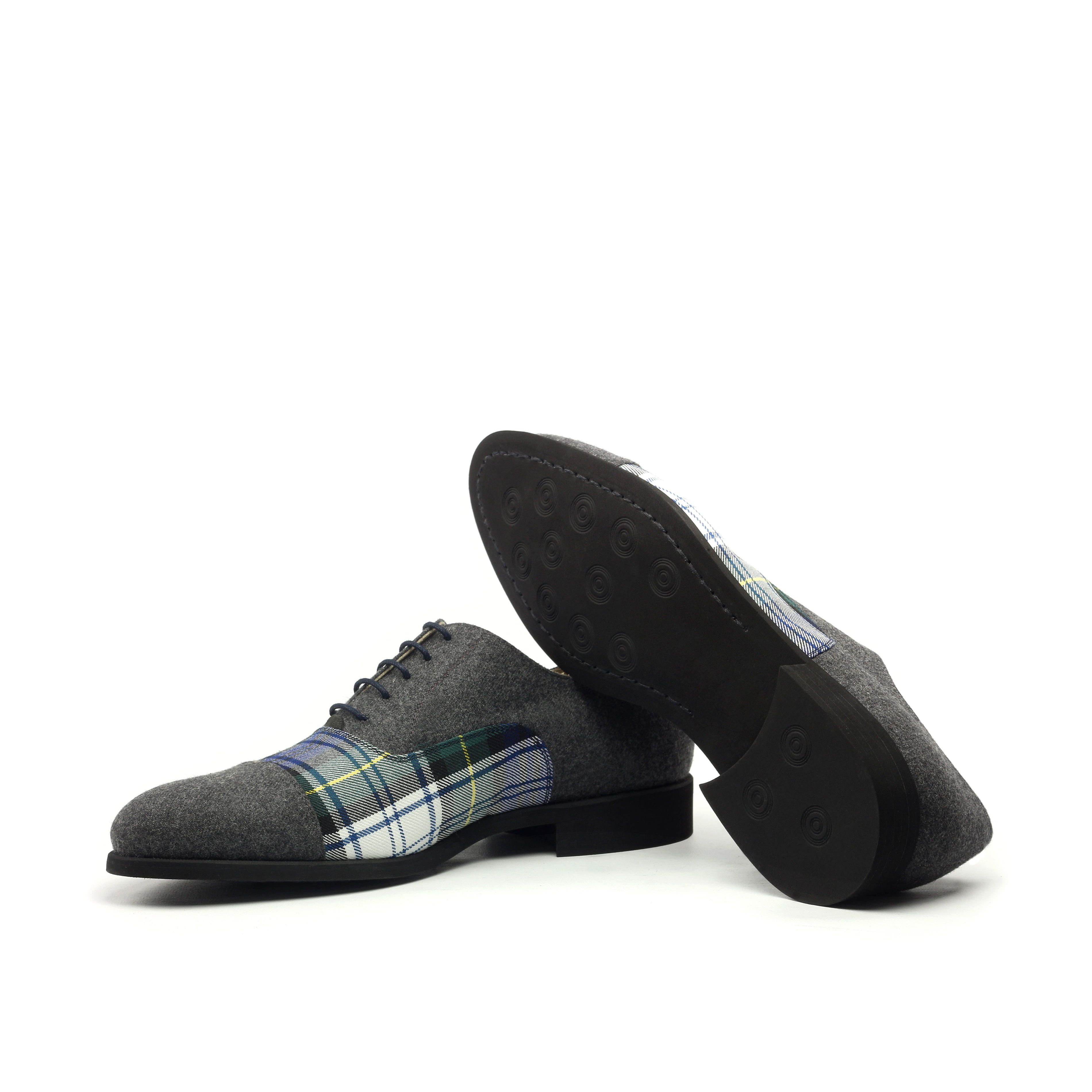 MANOR OF LONDON 'The Oxford' Grey Flannel & Tartan Shoe Luxury Custom Initials Monogrammed Bottom Side View